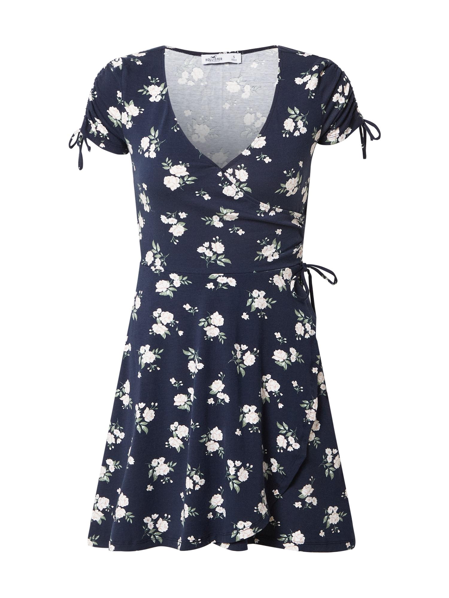 HOLLISTER Vasarinė suknelė tamsiai mėlyna / balta / alyvuogių spalva