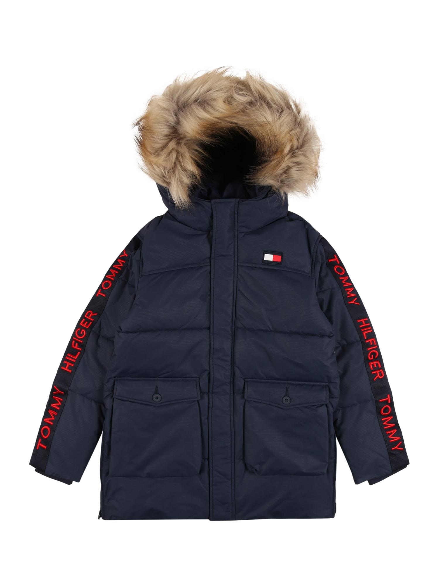 TOMMY HILFIGER Zimná bunda 'ARCTIC TAPE'  svetločervená / tmavomodrá