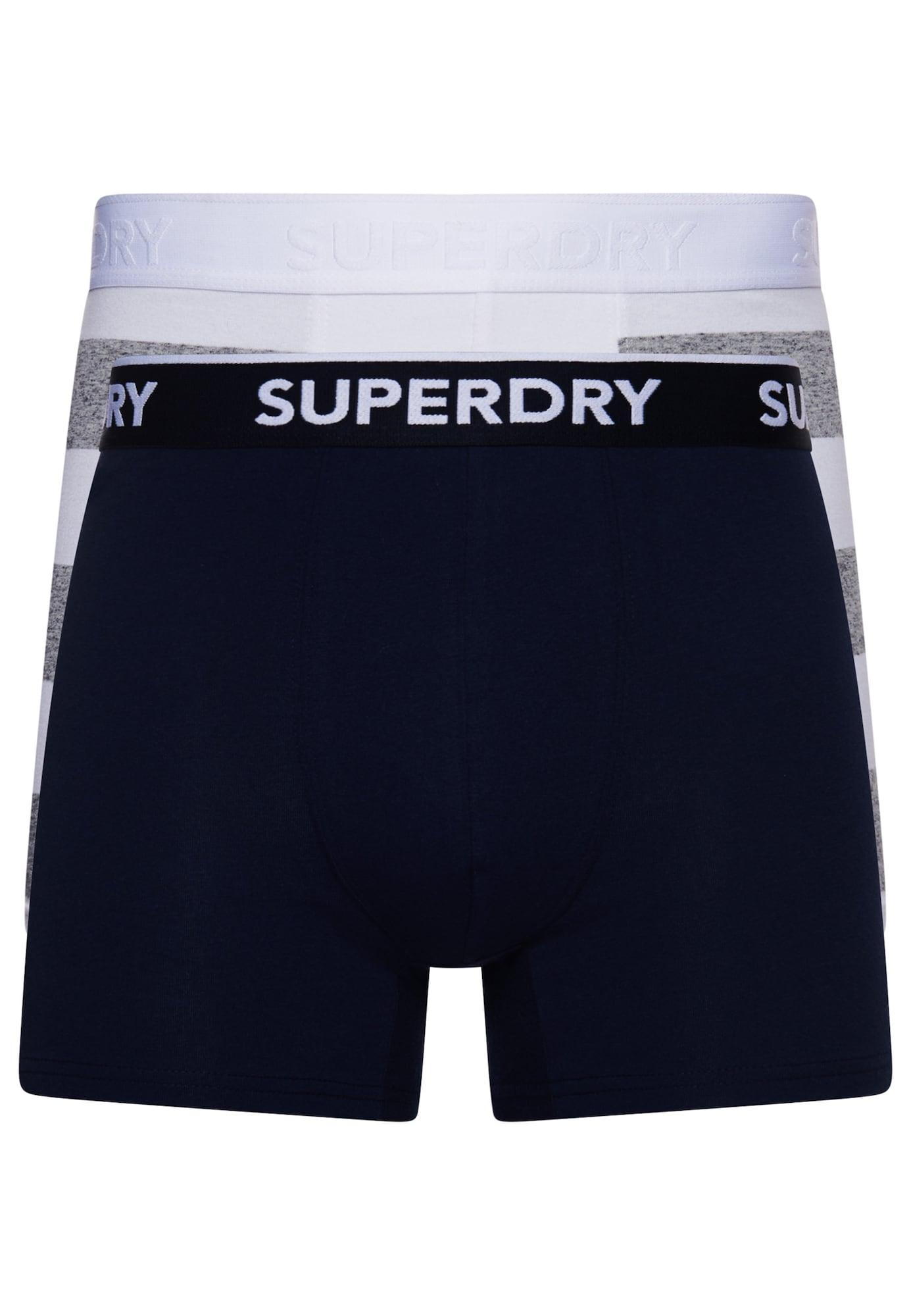 Superdry Boxer trumpikės tamsiai mėlyna jūros spalva / juoda / balta / pilka