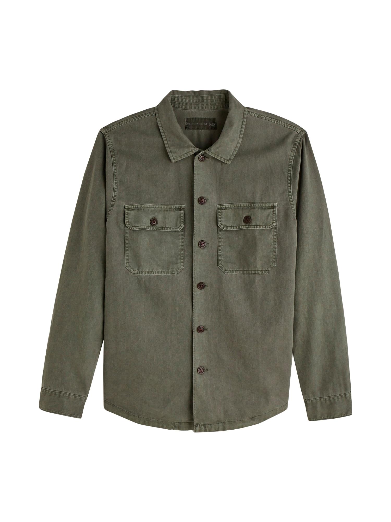 Abercrombie & Fitch Dalykiniai marškiniai alyvuogių spalva