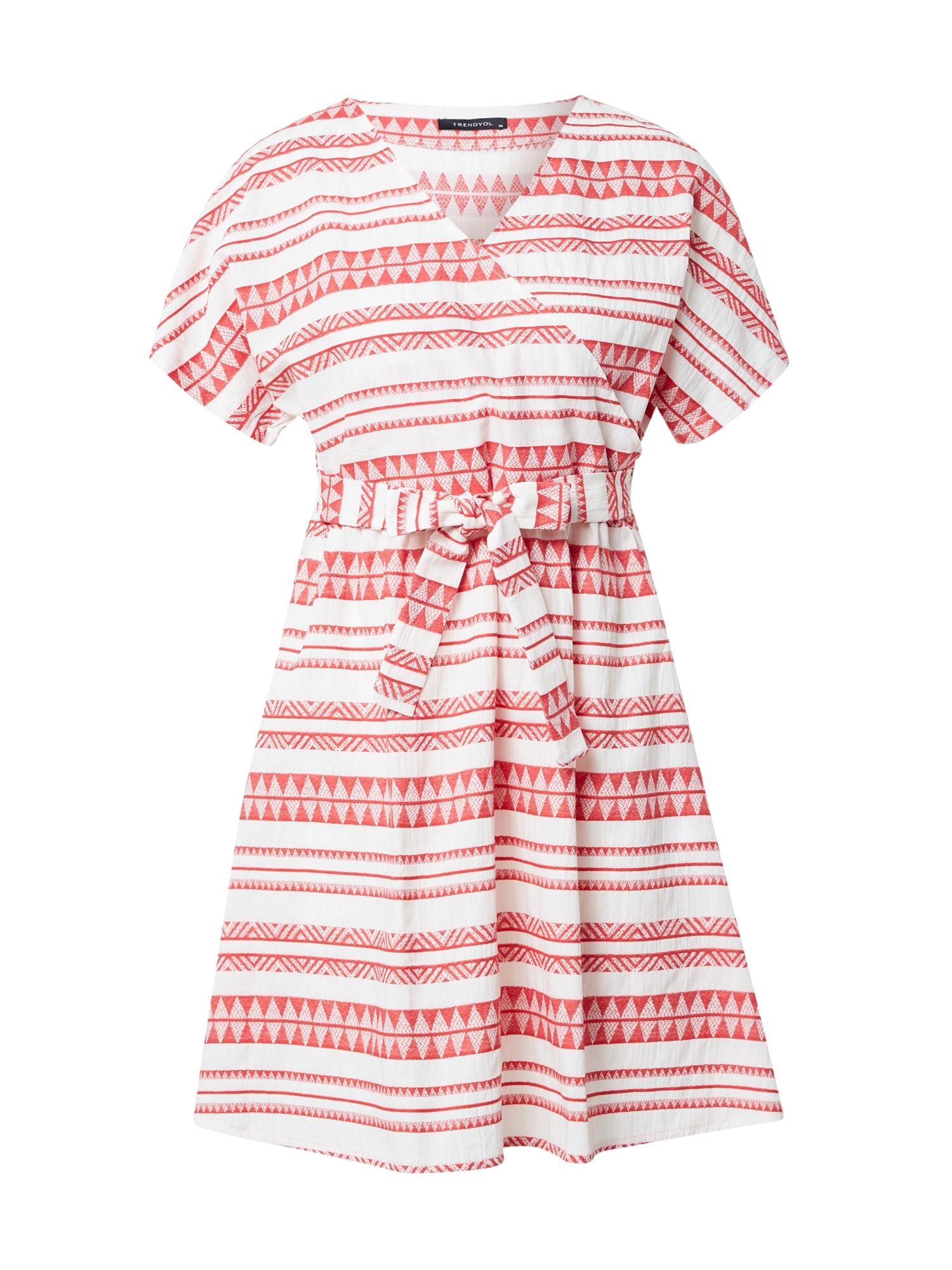 Trendyol Šaty  bílá / světle červená