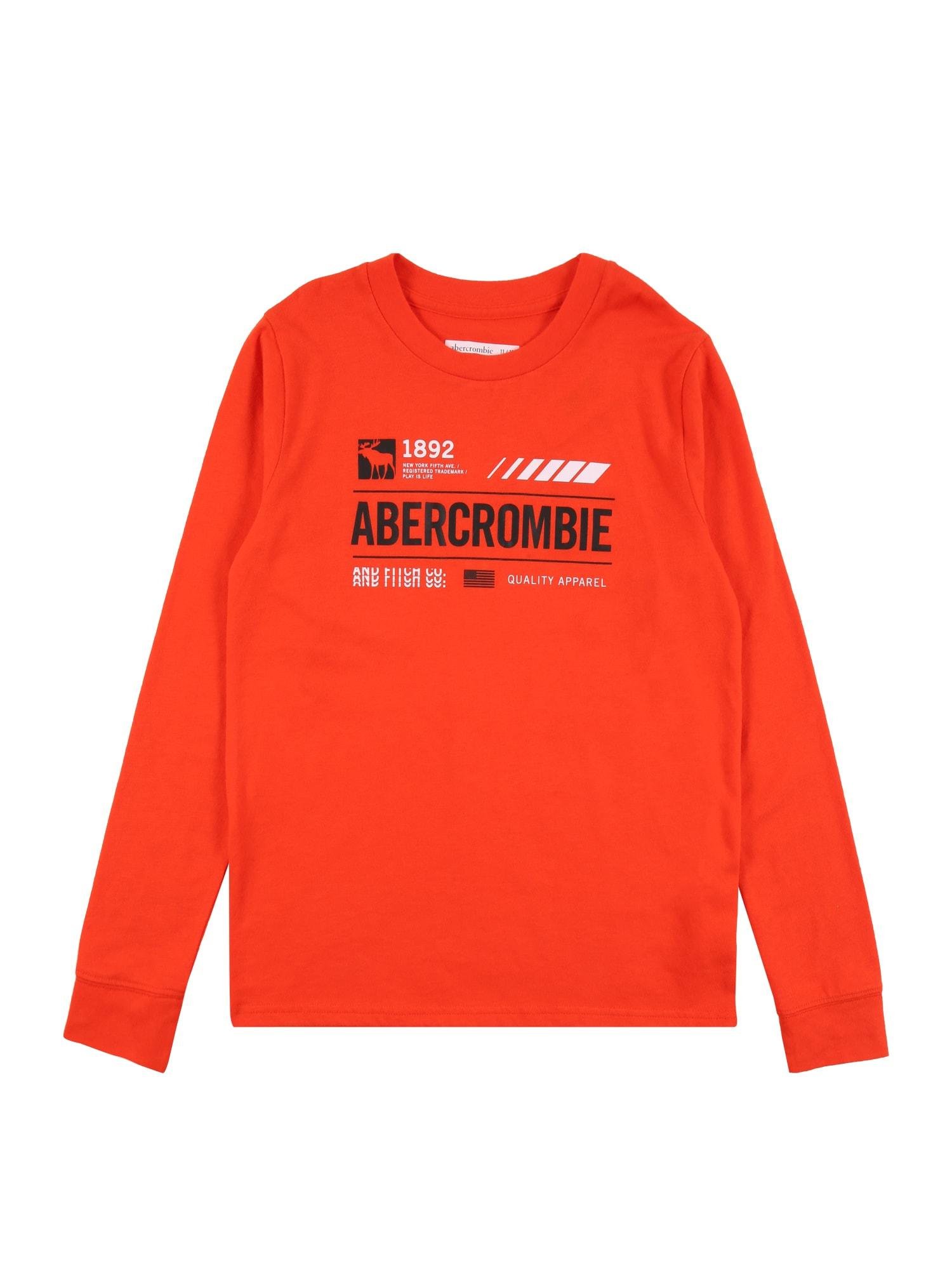 Abercrombie & Fitch Marškinėliai omarų spalva / juoda / balta