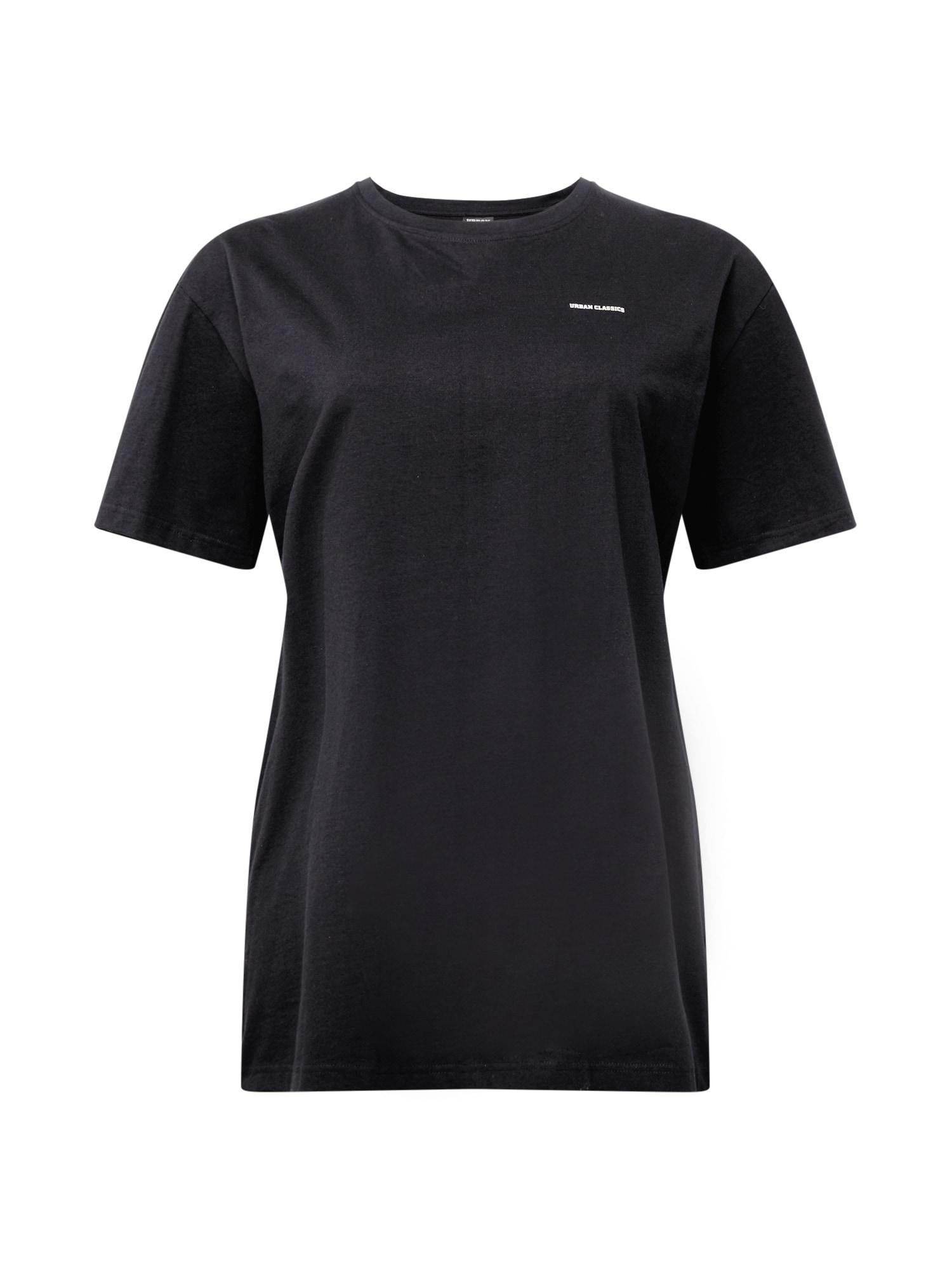 Urban Classics Curvy Laisvi marškinėliai juoda / balta