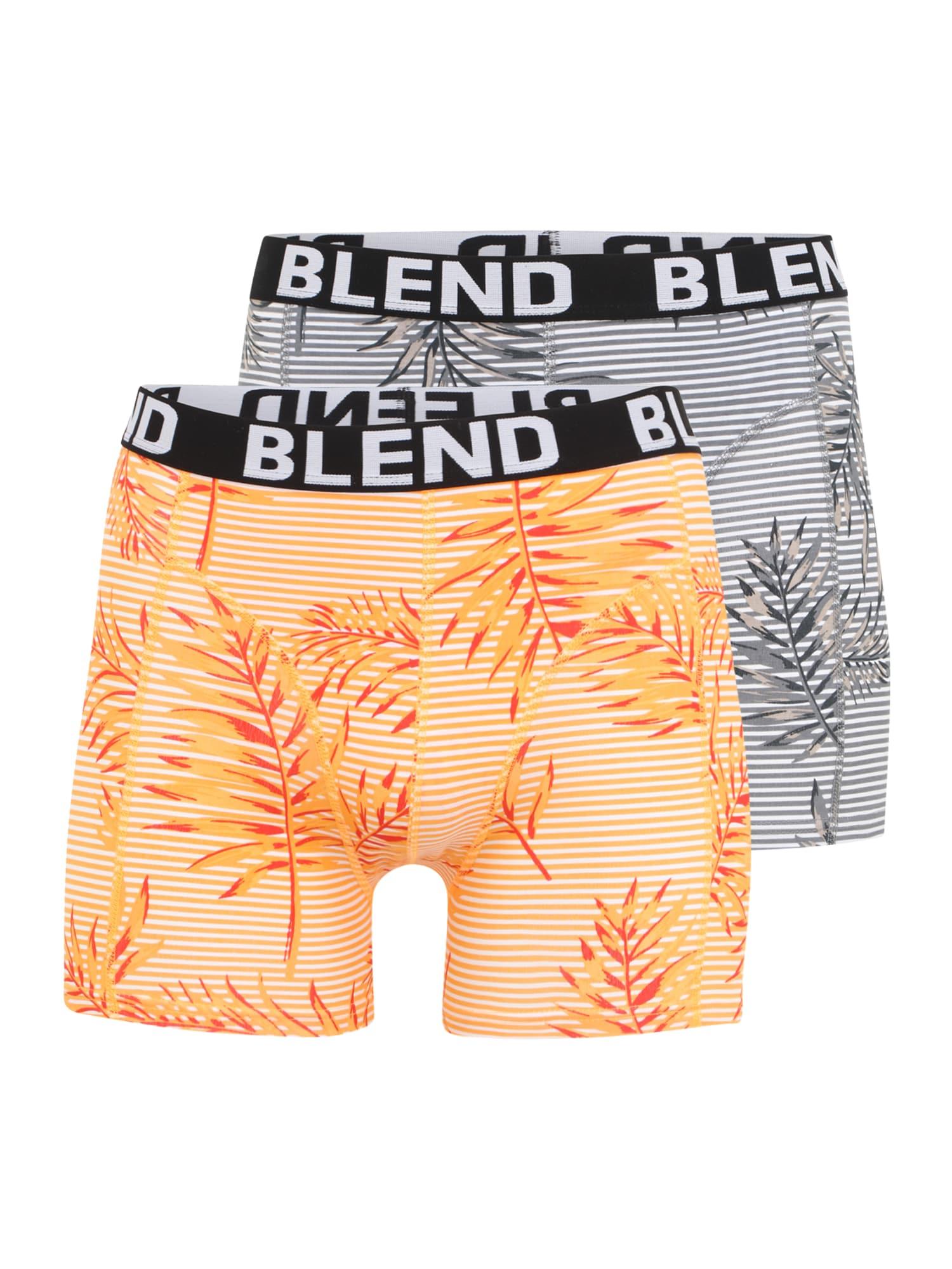 BLEND Boxer trumpikės balta / šviesiai oranžinė / neoninė oranžinė / sidabro pilka / grafito