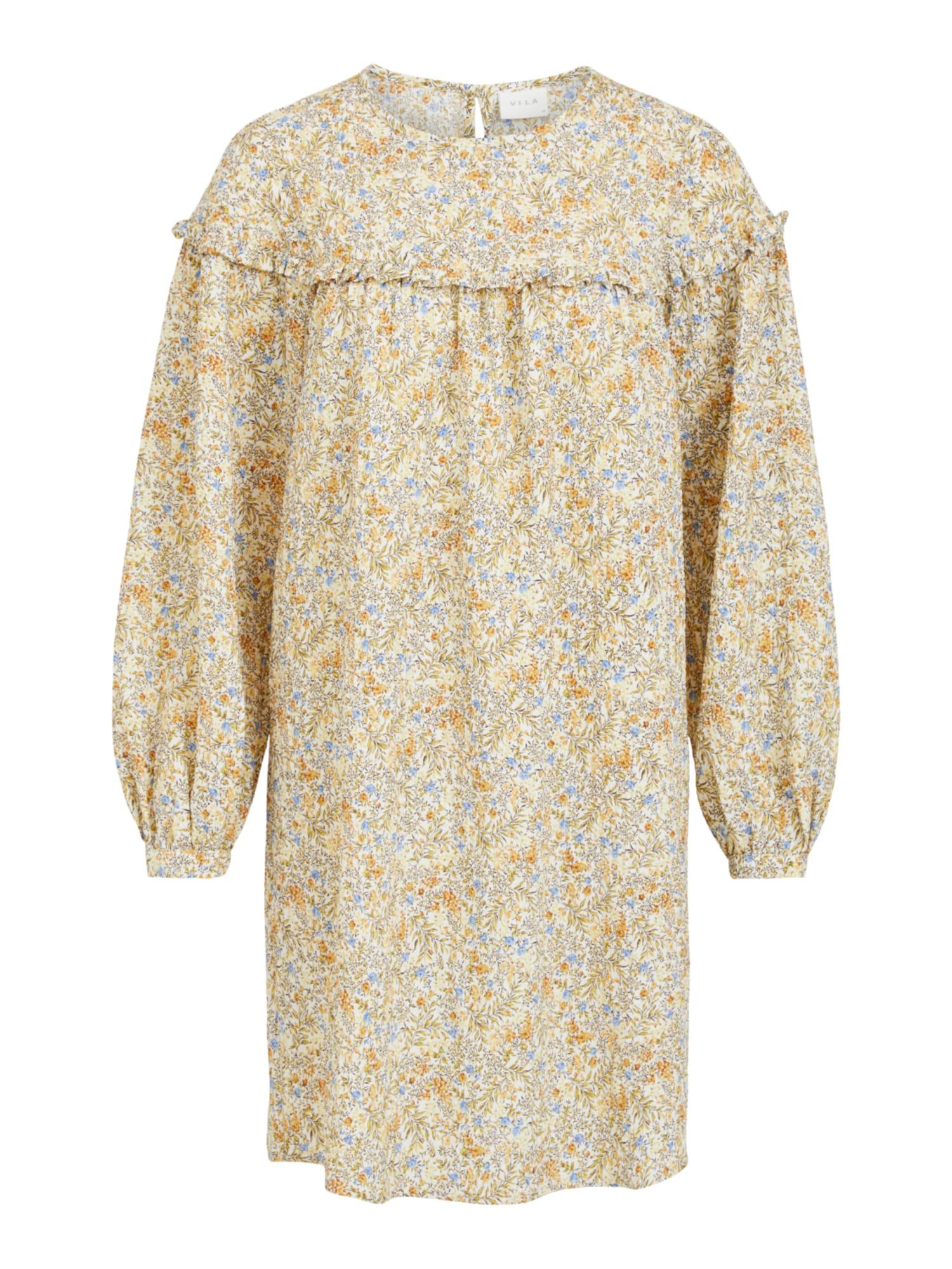 VILA Šaty 'Sanina'  šedá / bílá / žlutá / béžová / světlemodrá