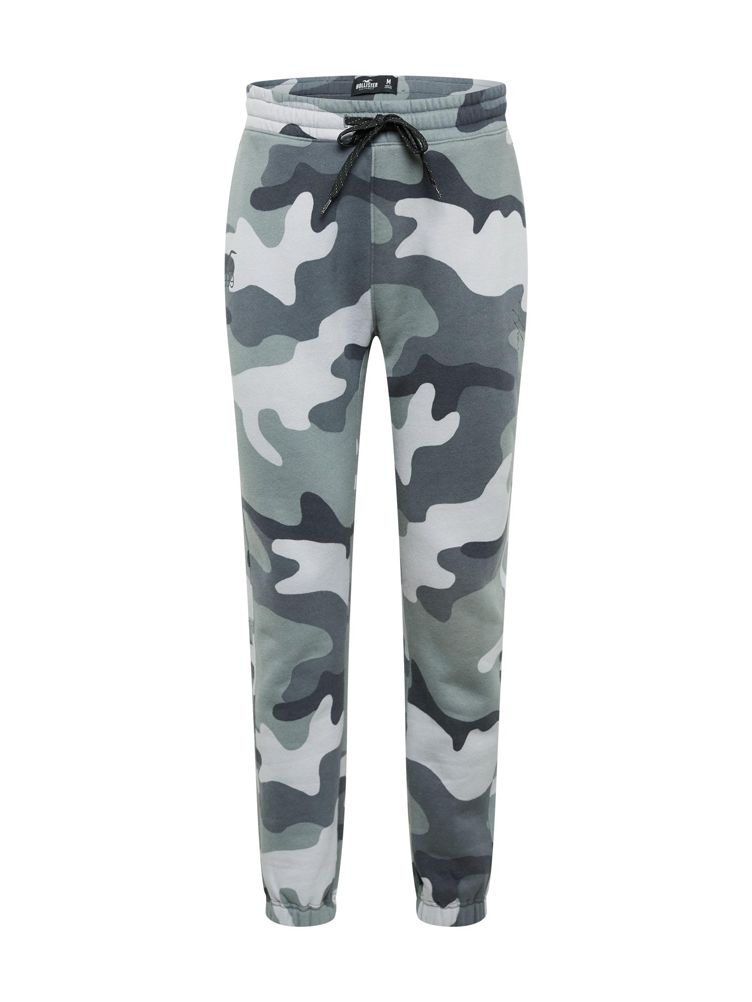 HOLLISTER Kalhoty  šedá / pastelově zelená / bílá