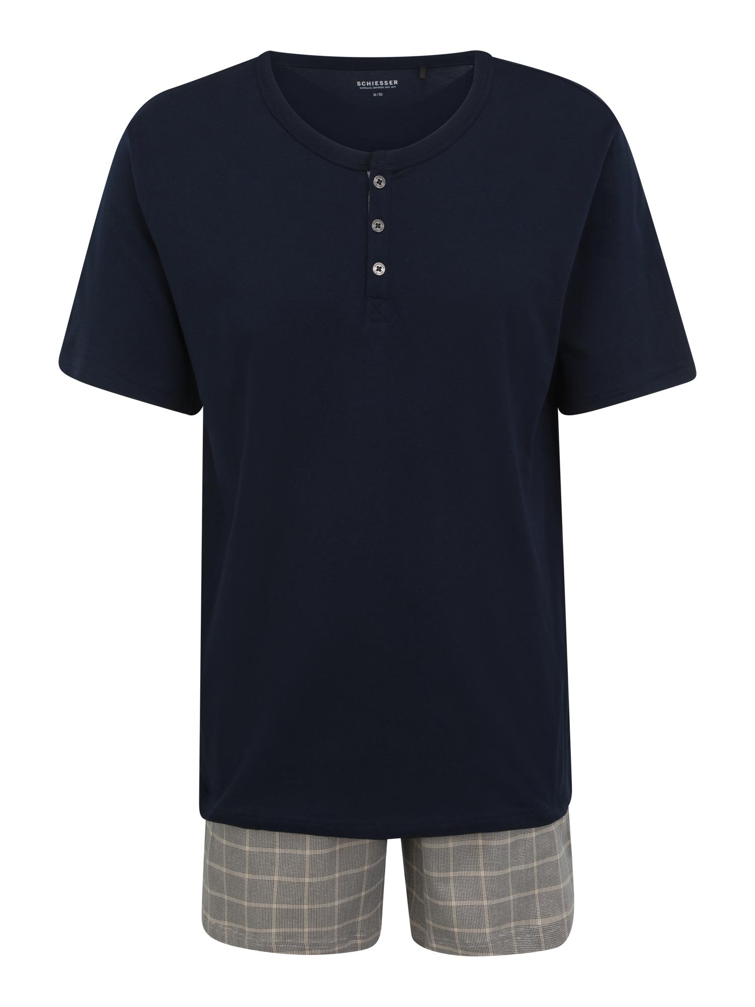 SCHIESSER Pyžamo krátké  noční modrá / šedá / béžová
