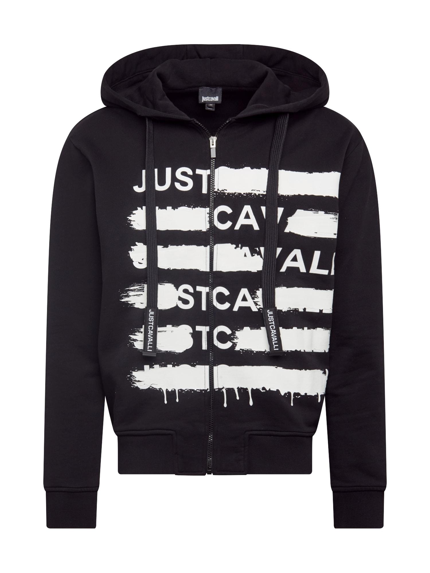 Just Cavalli Mikina s kapucí  černá / bílá