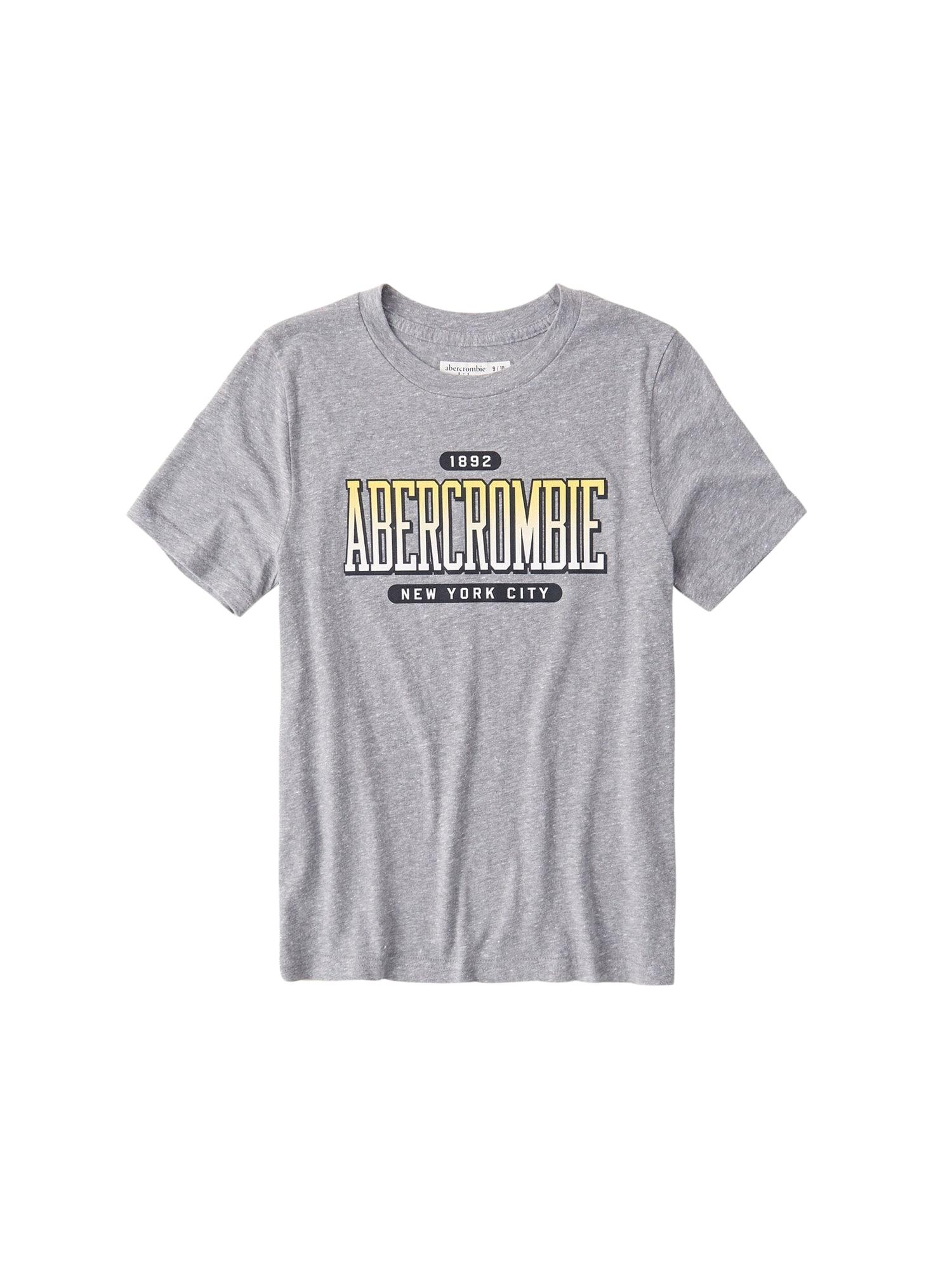 Abercrombie & Fitch Marškinėliai tamsiai pilka / balta / šviesiai geltona / margai pilka