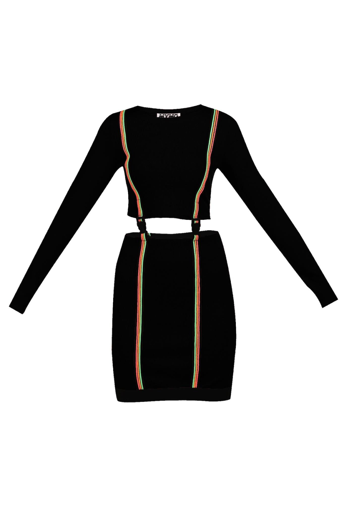 myMo ATHLSR Sportinė suknelė juoda / neoninė žalia / neoninė oranžinė / neoninė rožinė
