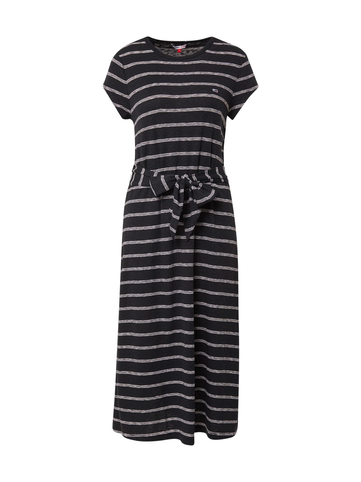 Tommy Jeans Šaty  černá / bílá