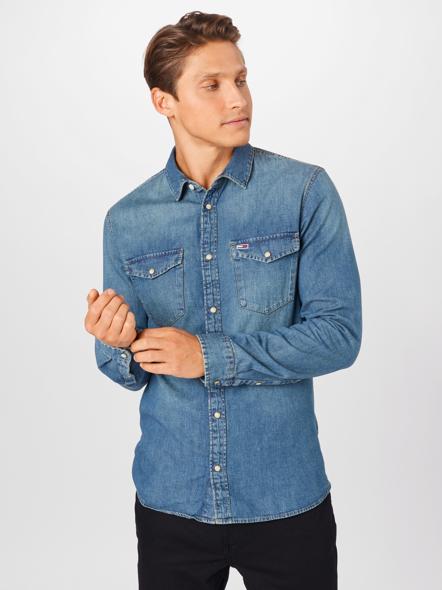 Tommy Jeans Skjorta 'WESTERN'  blå denim