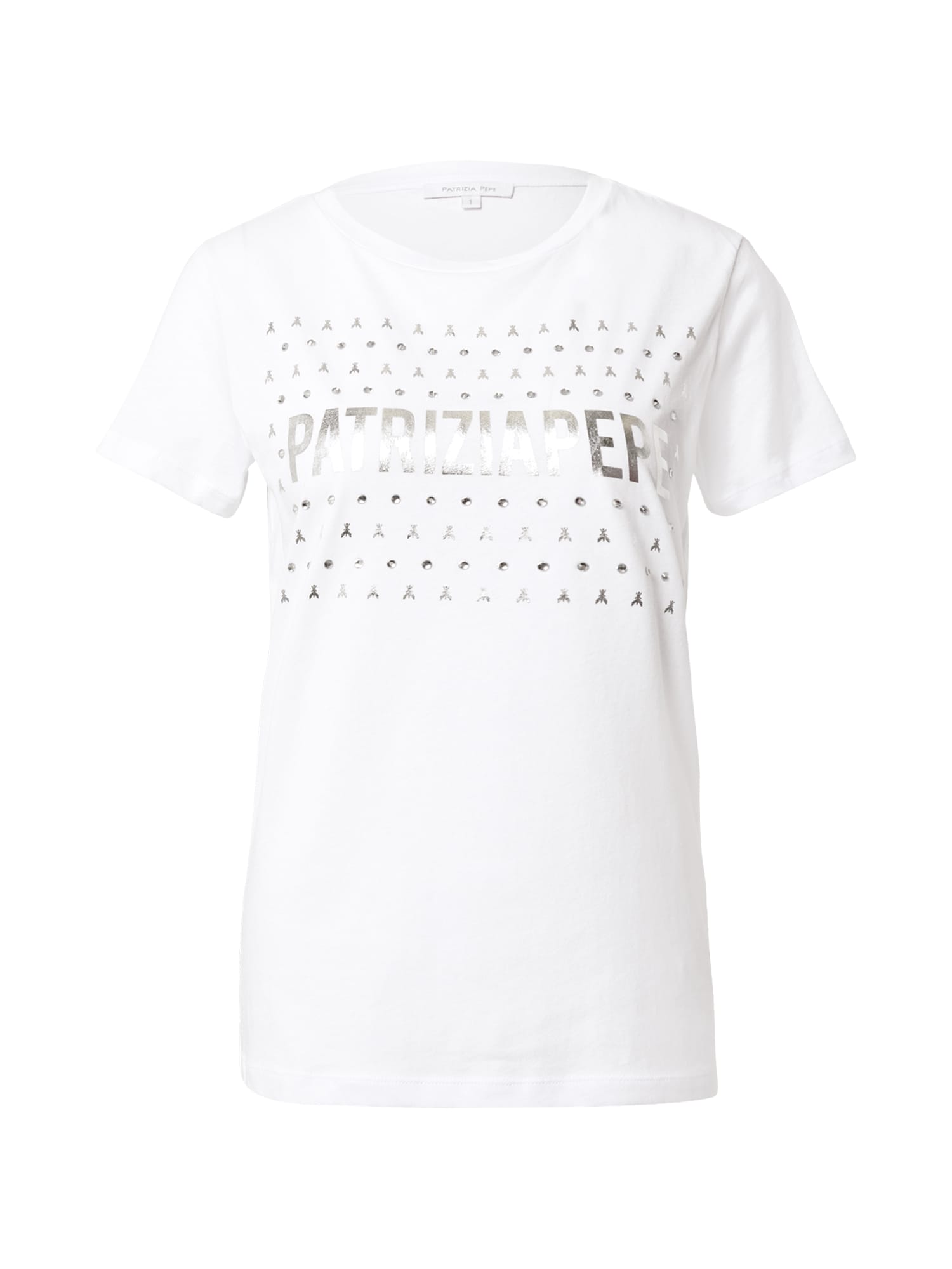 PATRIZIA PEPE Marškinėliai balta / sidabrinė