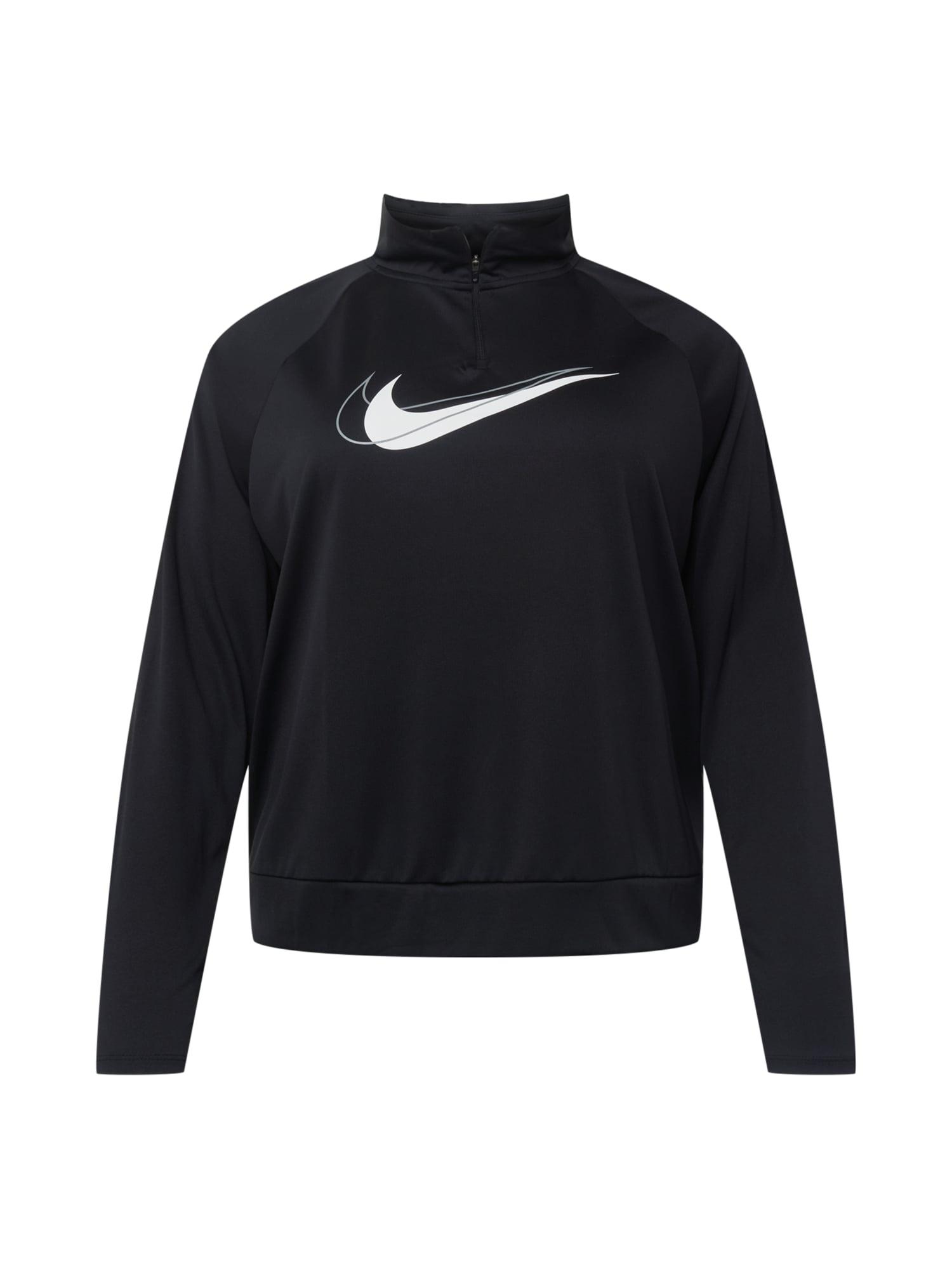 NIKE Funkční tričko 'Swoosh Run'  černá / bílá