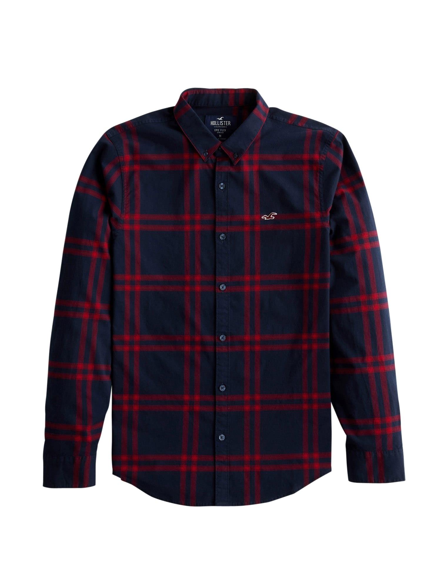 HOLLISTER Marškiniai tamsiai mėlyna / raudona