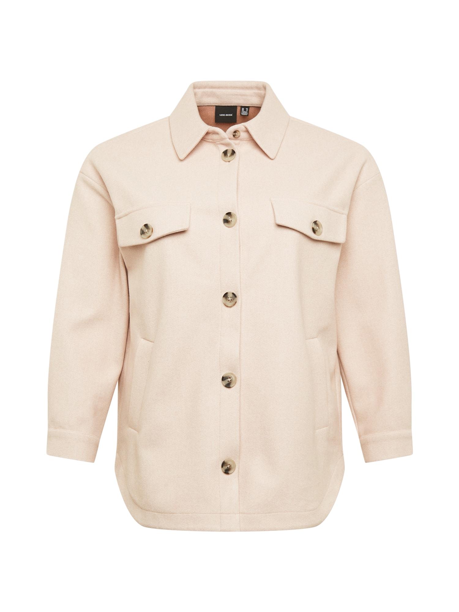 Vero Moda Curve Demisezoninis paltas kremo / tamsiai rusva