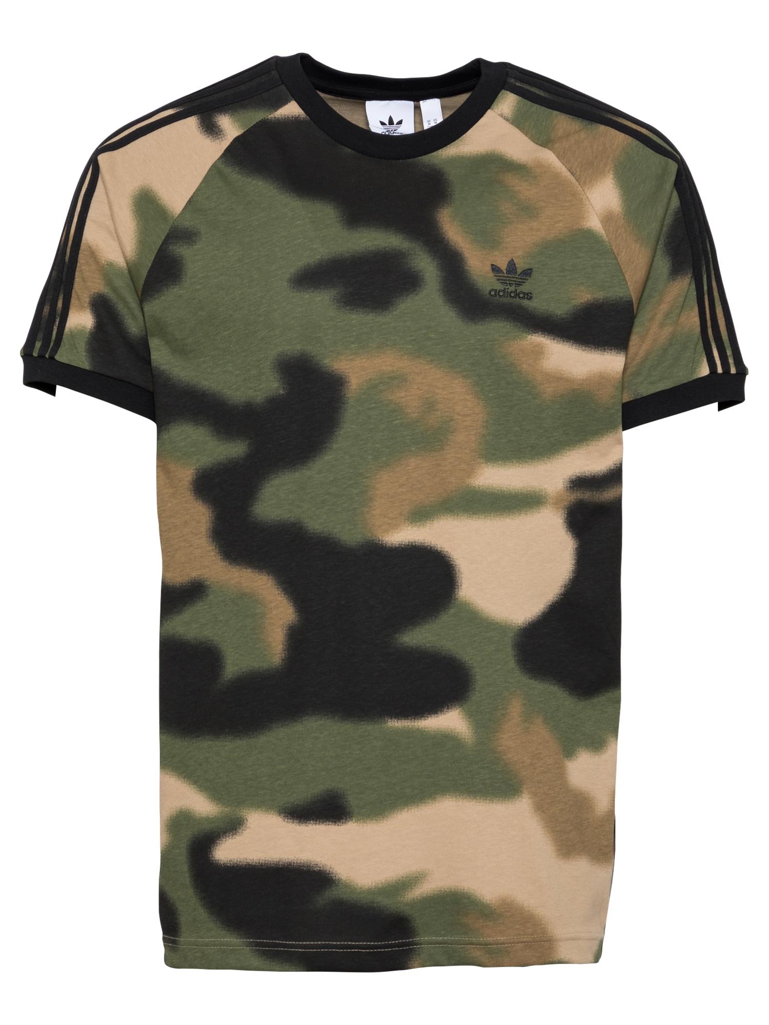 ADIDAS ORIGINALS Marškinėliai žalia / juoda / ruda / smėlio