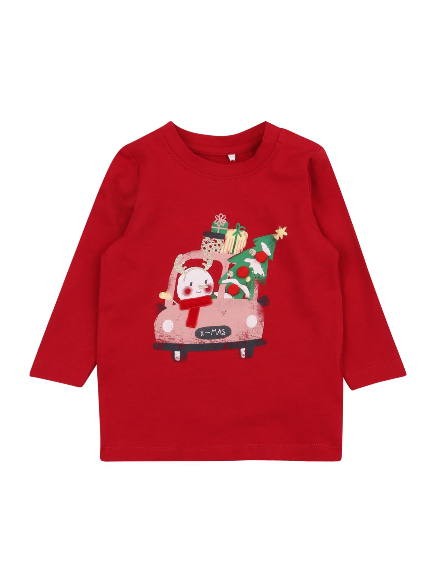NAME IT Marškinėliai 'RERINE' raudona / mišrios spalvos