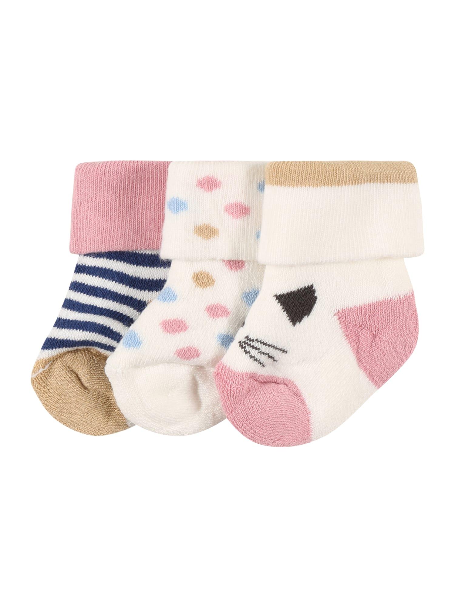 EWERS Kojinės natūrali balta / tamsiai mėlyna / šviesiai ruda / šviesiai rožinė / mėlyna dūmų spalva