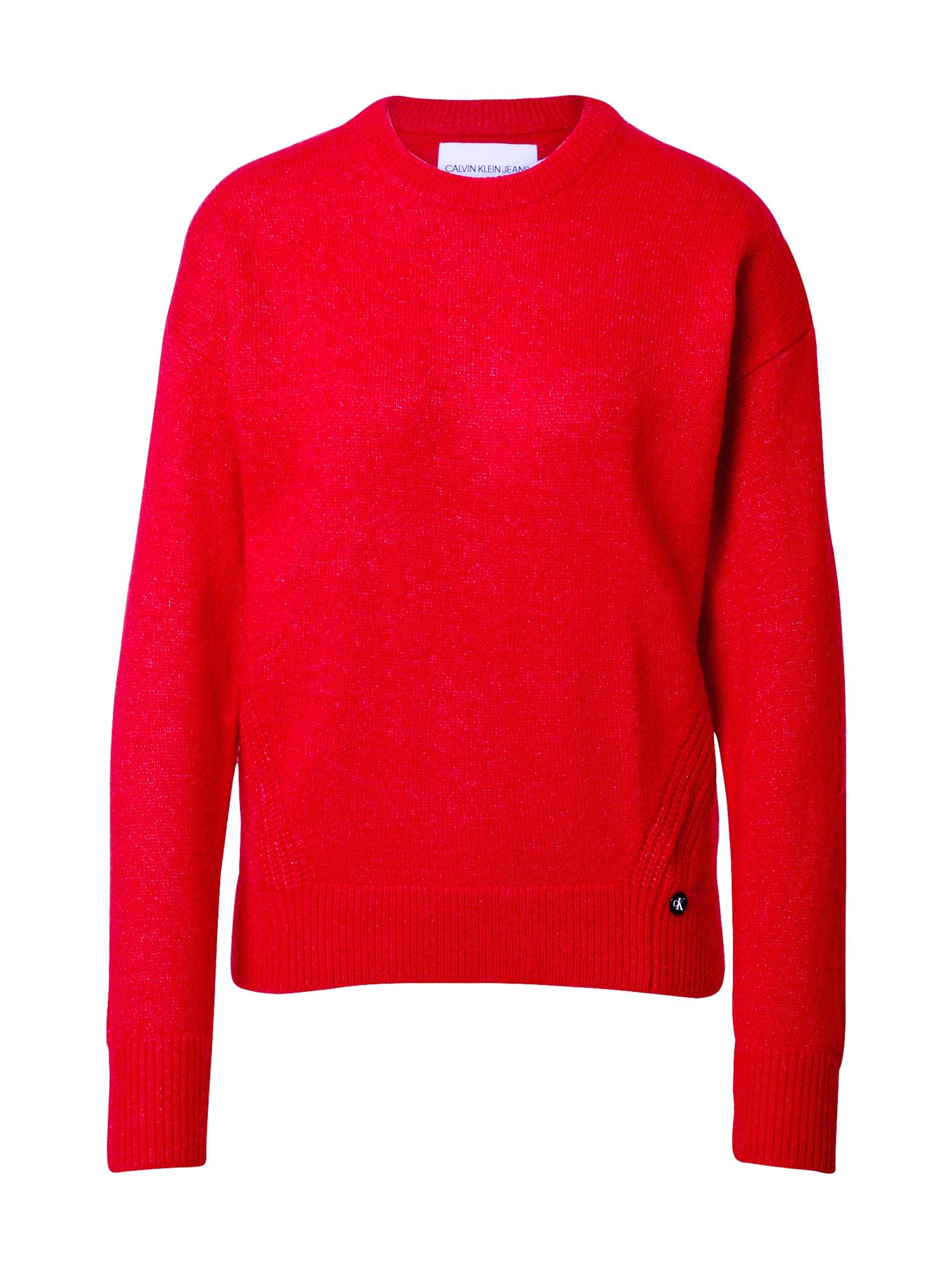Calvin Klein Jeans Megztinis 'Lofty Yarn' raudona