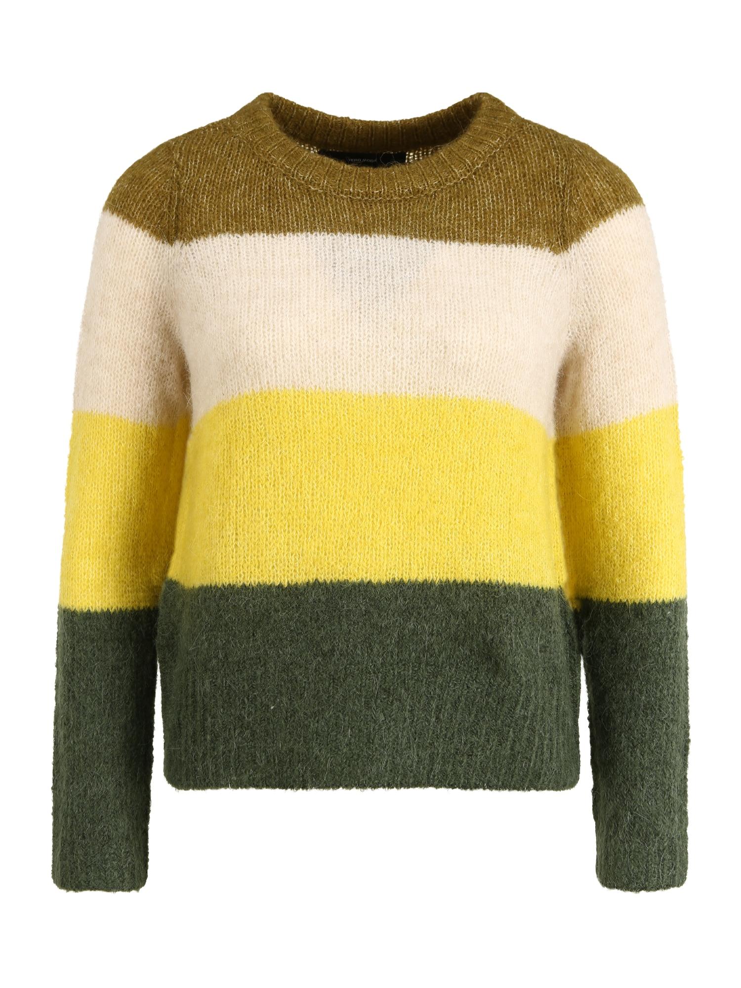 Vero Moda Petite Megztinis žalia / alyvuogių spalva / geltona / kremo