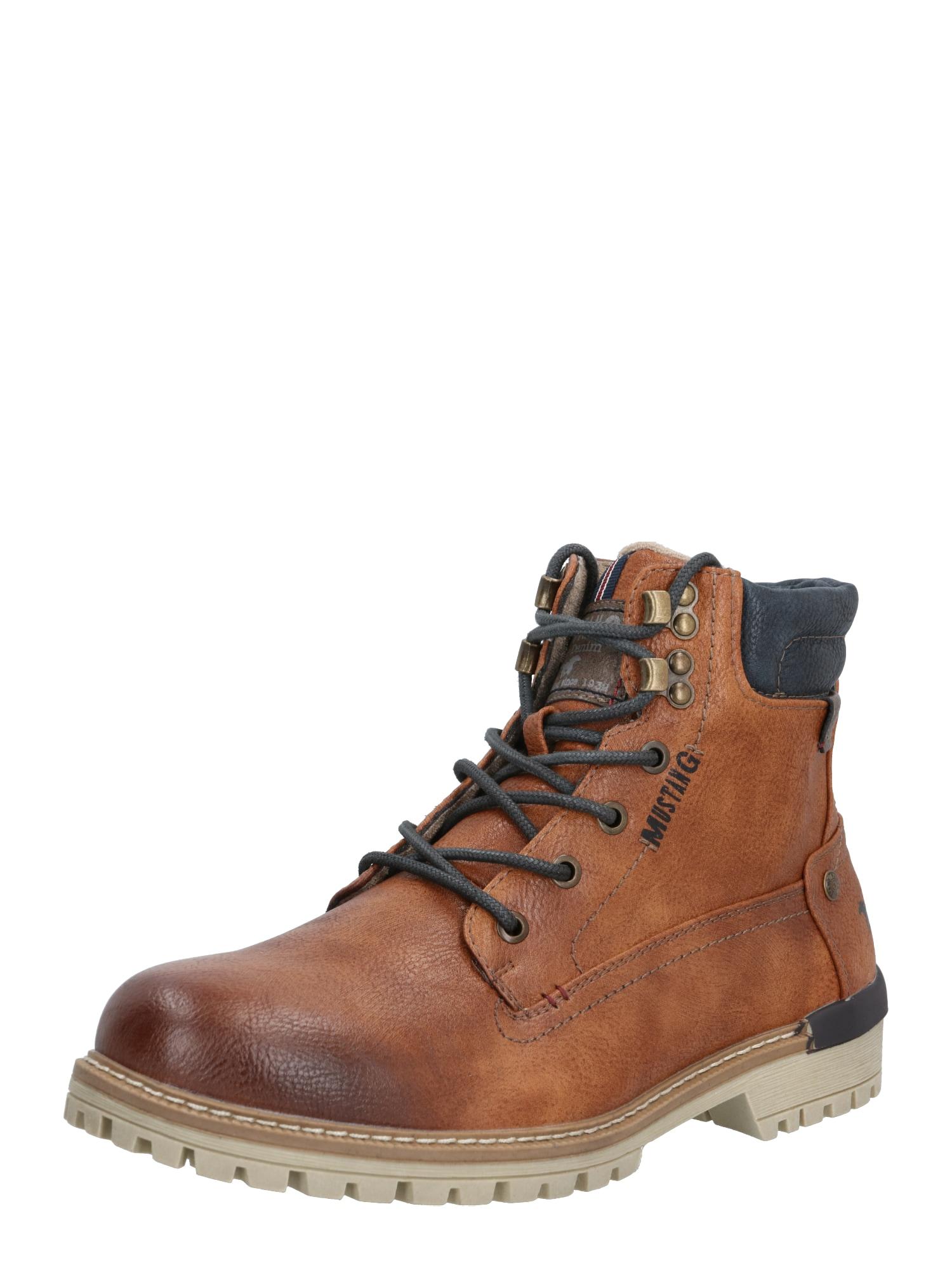 MUSTANG Auliniai batai su raišteliais ruda (konjako) / juoda