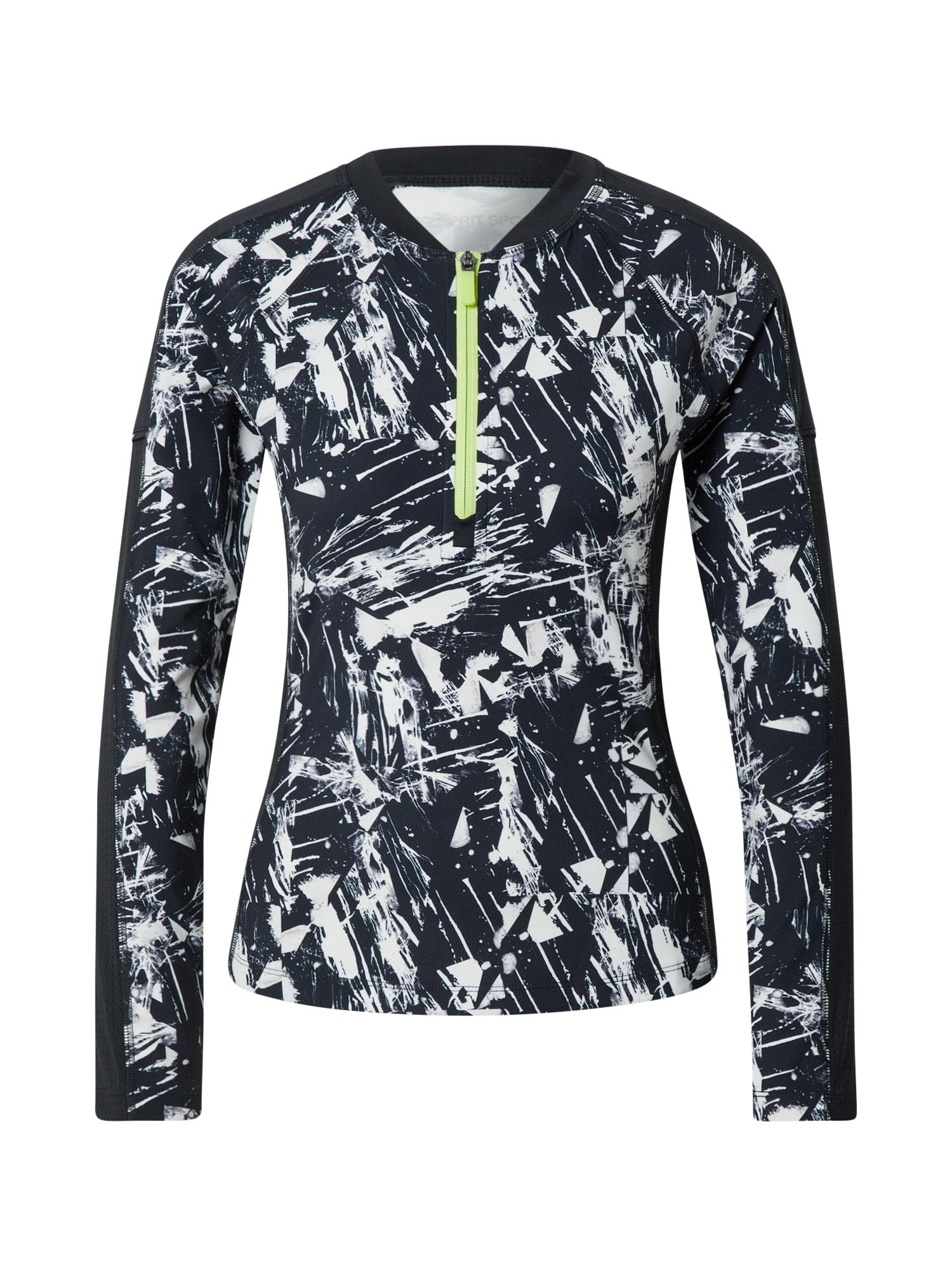 ESPRIT SPORT Sportiniai marškinėliai juoda / balta