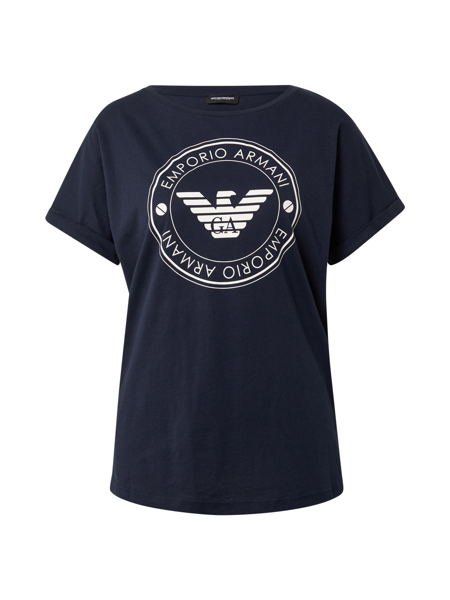 Emporio Armani Pižaminiai marškinėliai mėlyna / balta