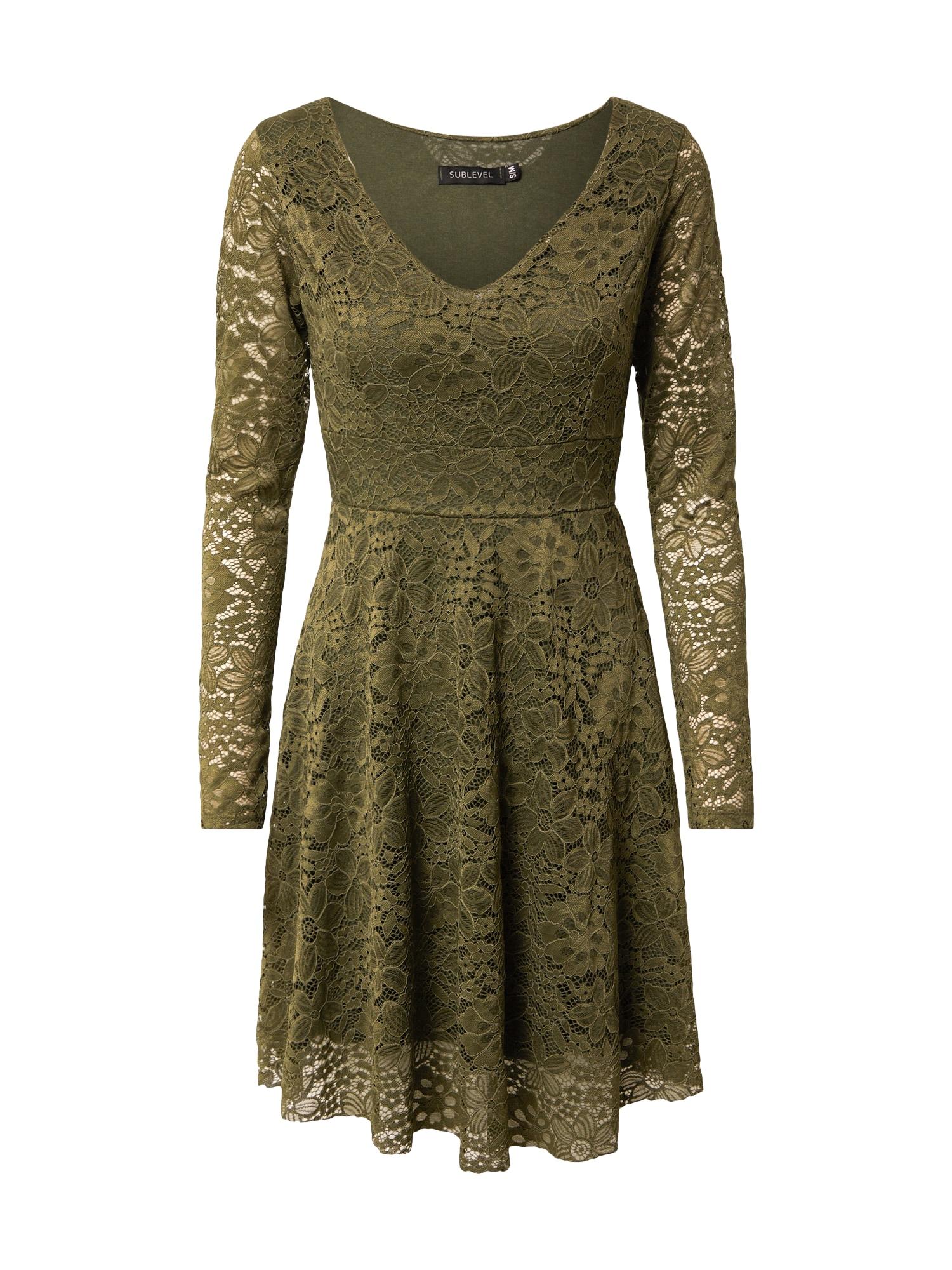 Sublevel Kokteilinė suknelė alyvuogių spalva