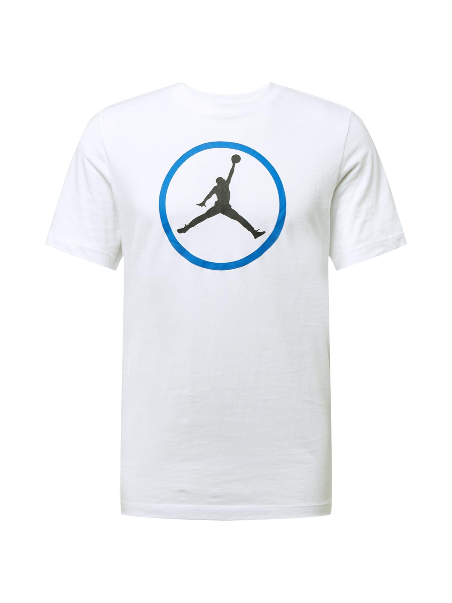 Jordan Marškinėliai balta / juoda / dangaus žydra
