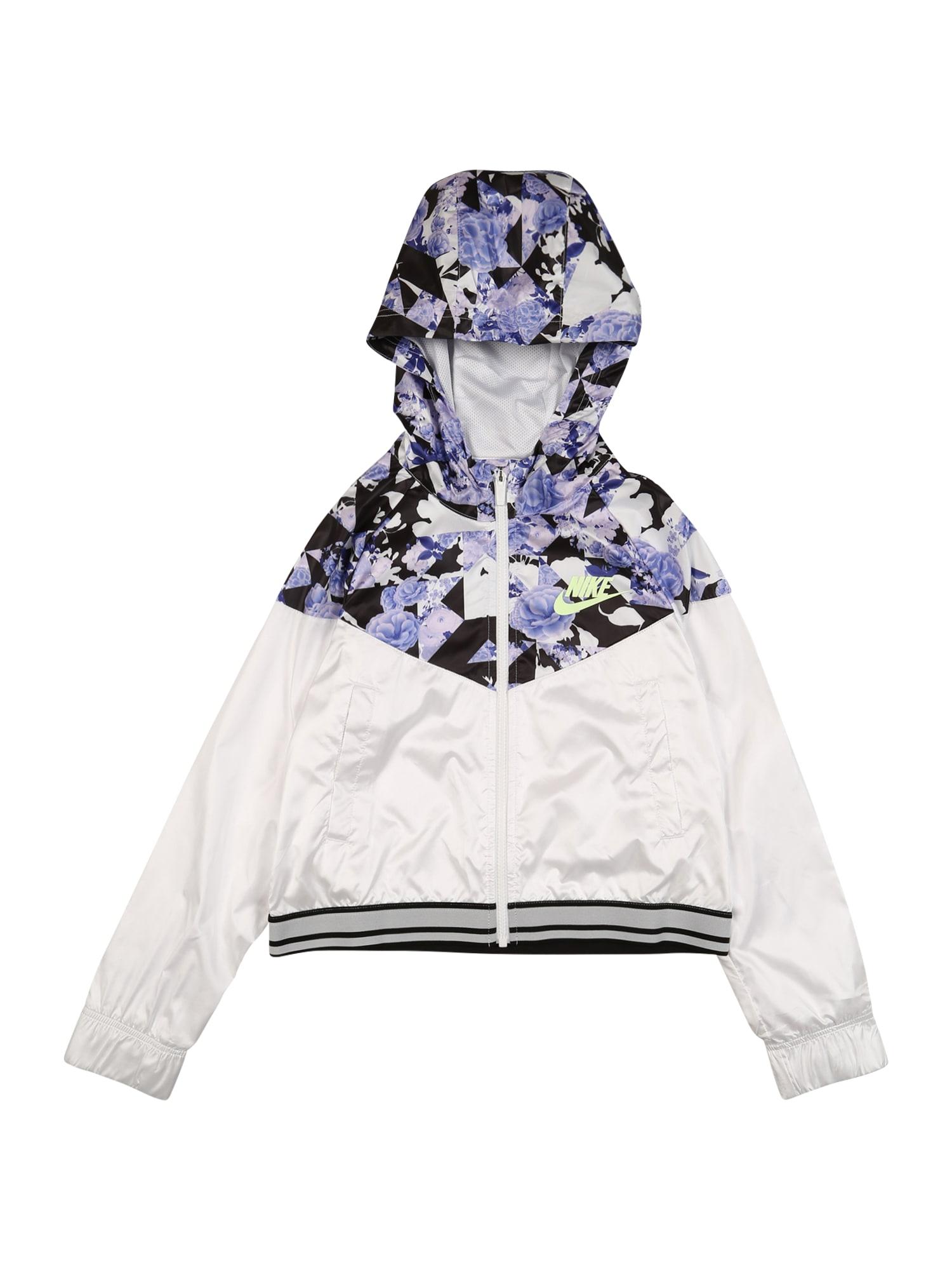 Nike Sportswear Demisezoninė striukė balta / purpurinė