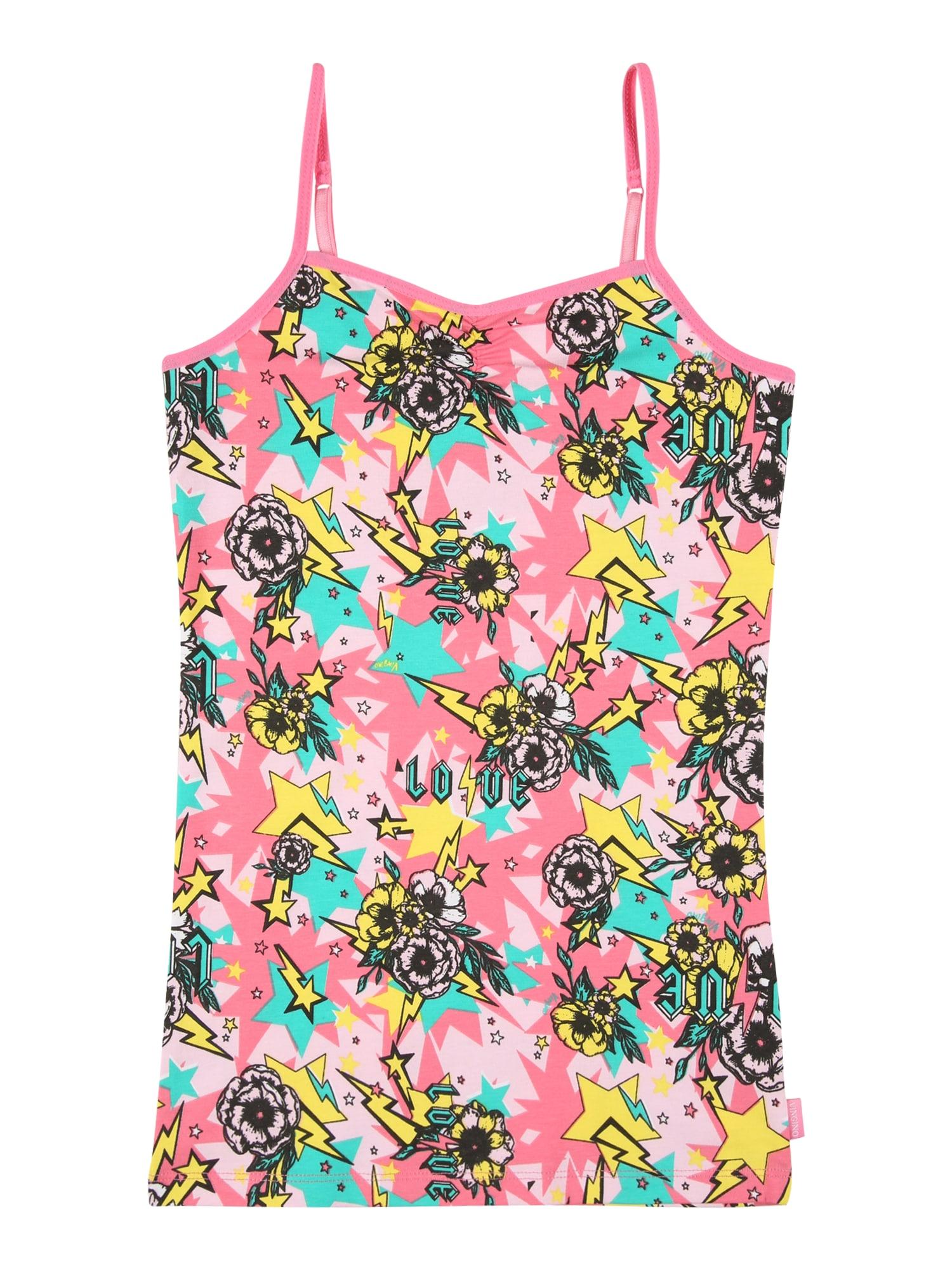 VINGINO Apatiniai marškinėliai rožinė / juoda / geltona / turkio spalva / šviesiai rožinė