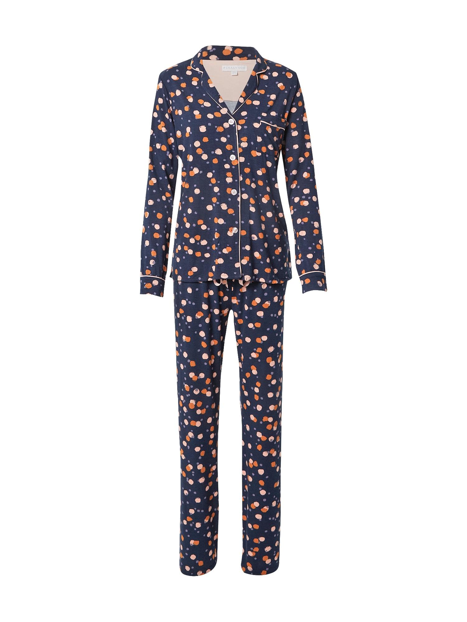 PJ Salvage Pižama tamsiai mėlyna / persikų spalva / mandarinų spalva