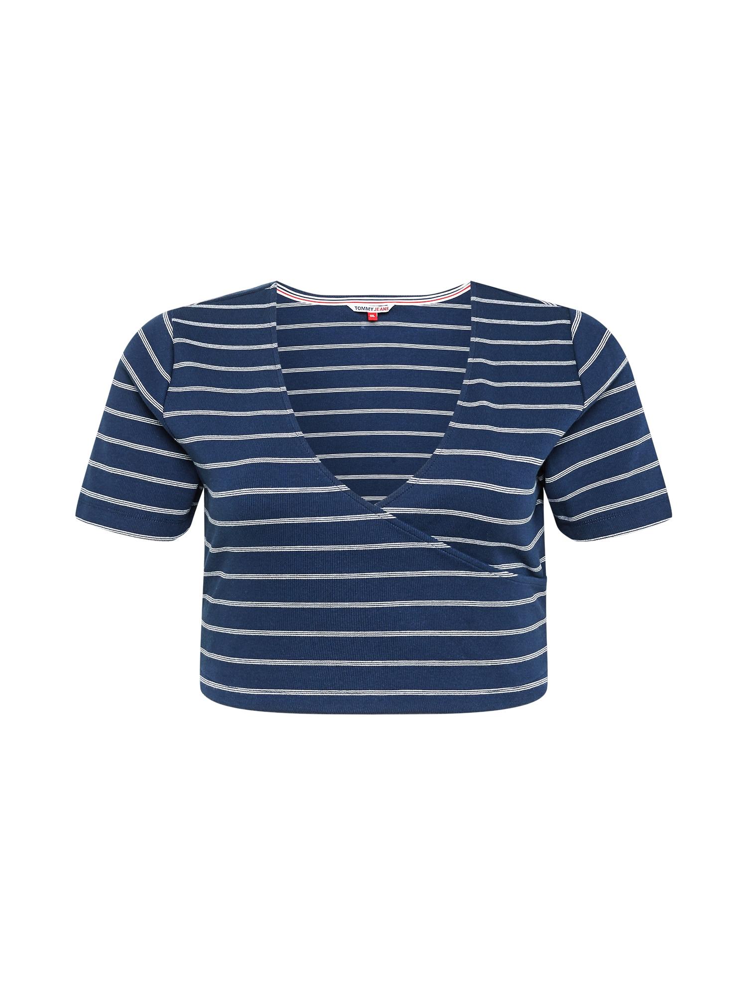 Tommy Jeans Curve Marškinėliai balta / tamsiai mėlyna