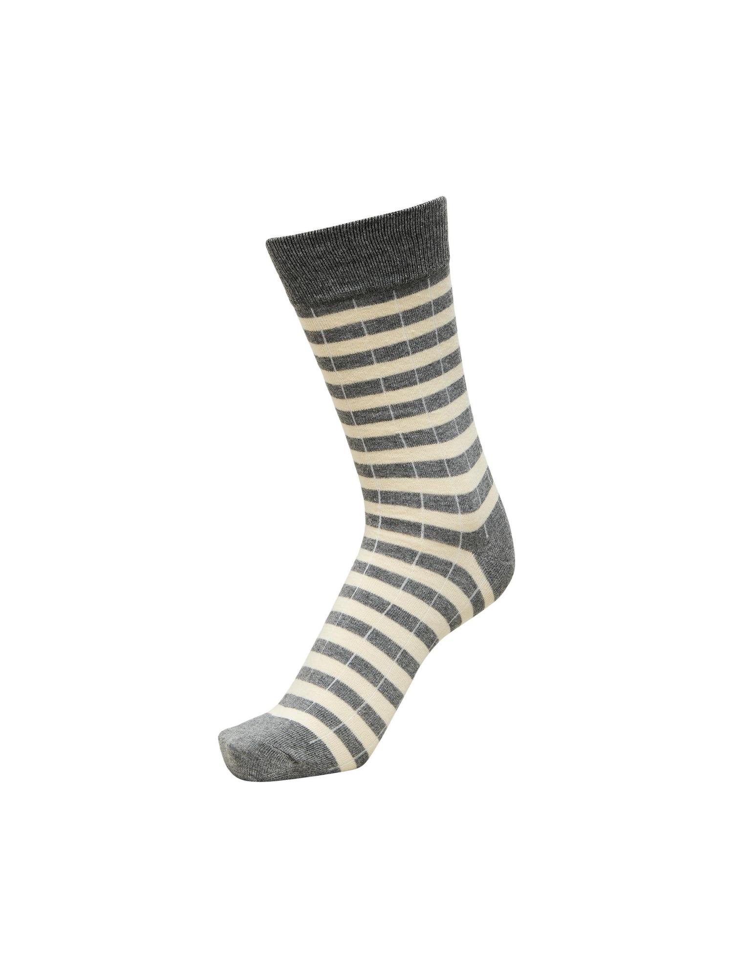 SELECTED HOMME Kojinės natūrali balta / gelsvai pilka spalva / šviesiai pilka