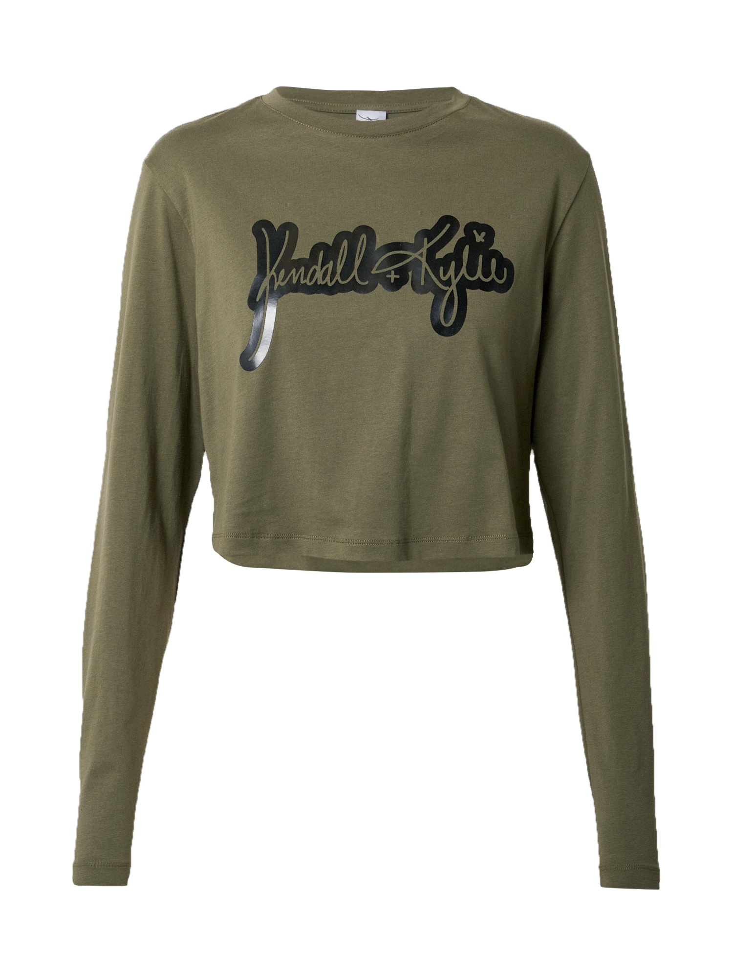 KENDALL + KYLIE Marškinėliai juoda / rusvai žalia