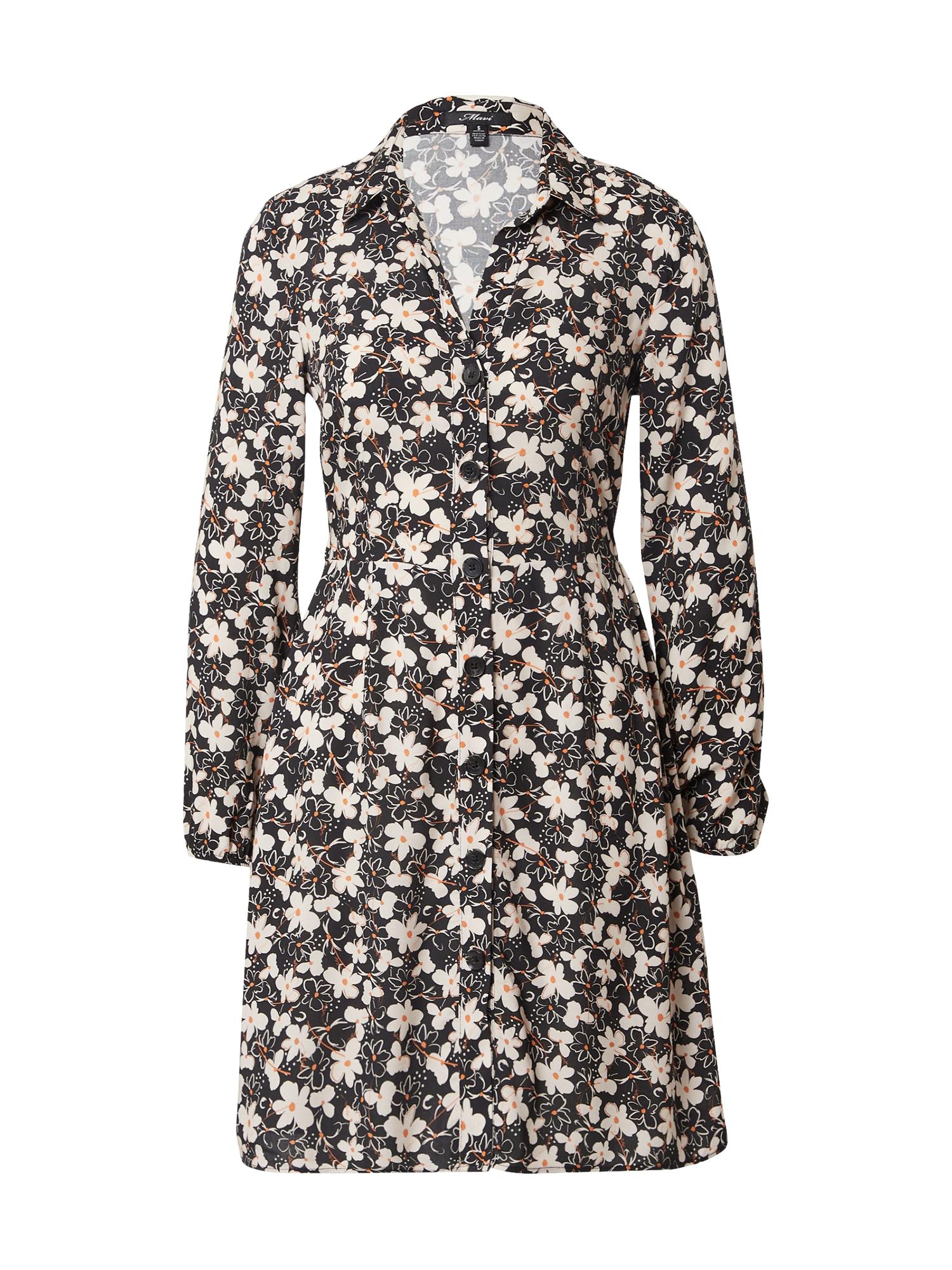 Mavi Palaidinės tipo suknelė juoda / balta / garstyčių spalva