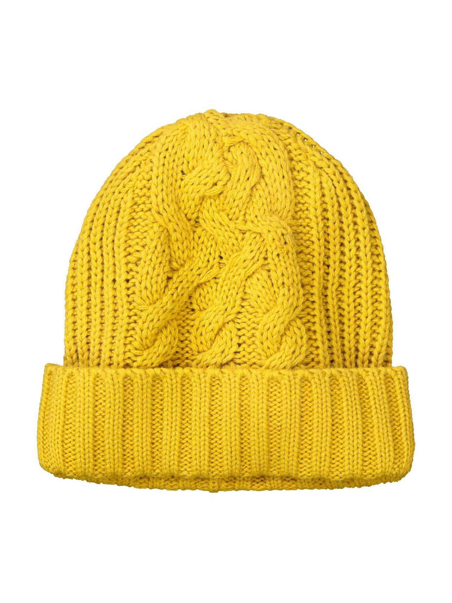 Ulla Popken Megzta kepurė geltona