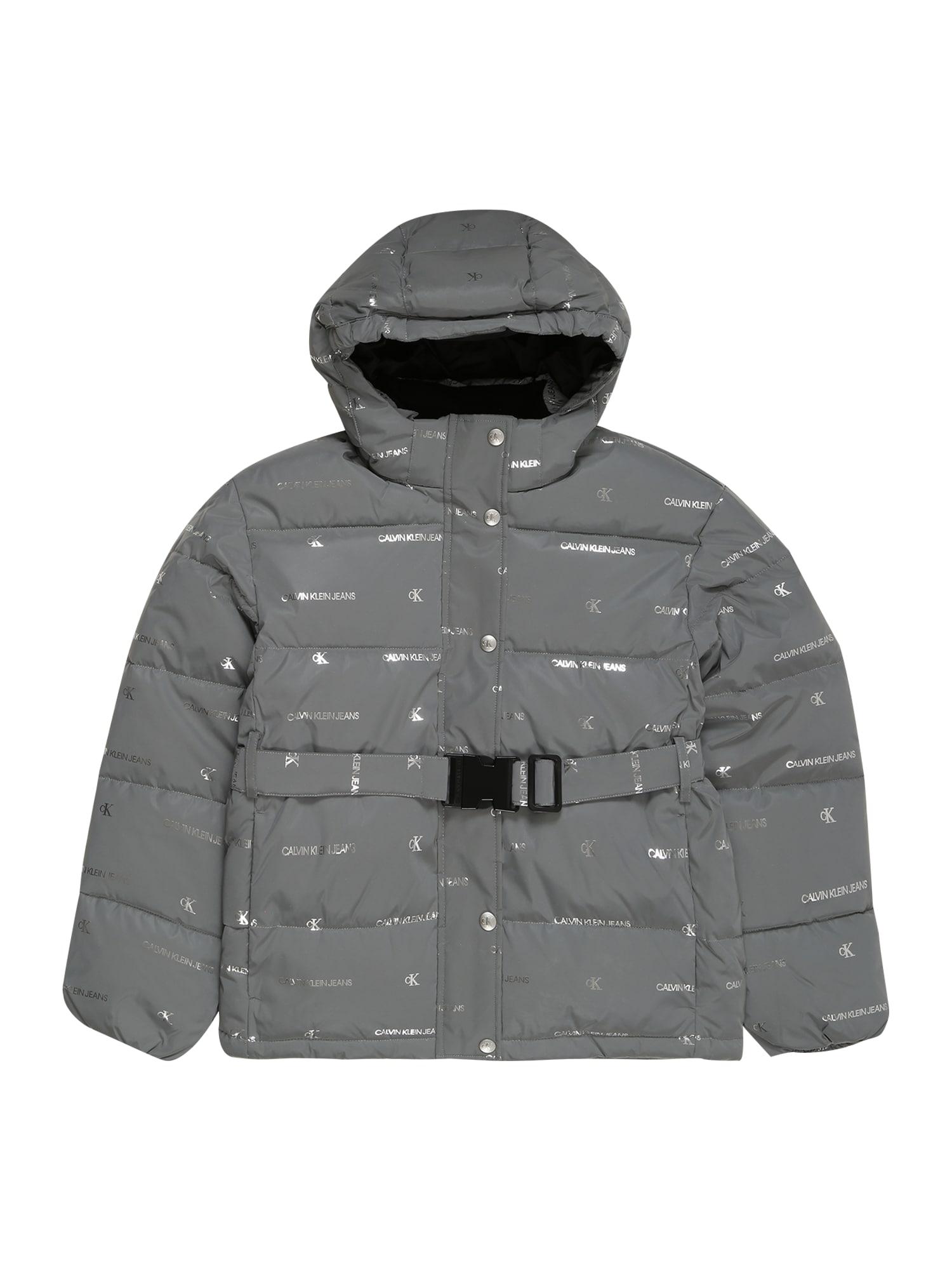 Calvin Klein Jeans Zimní bunda  stříbrná / šedá