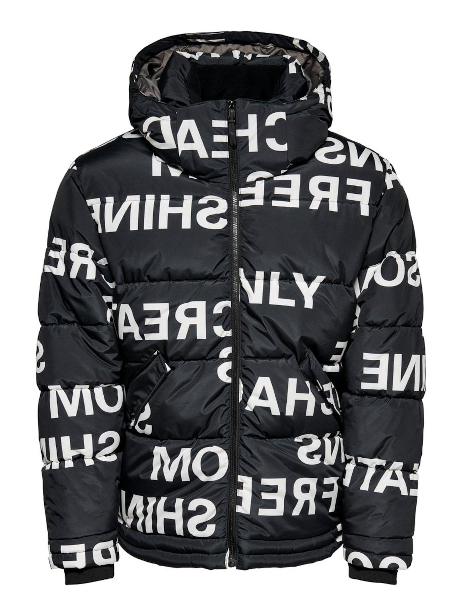 Only & Sons Zimní bunda  černá / bílá