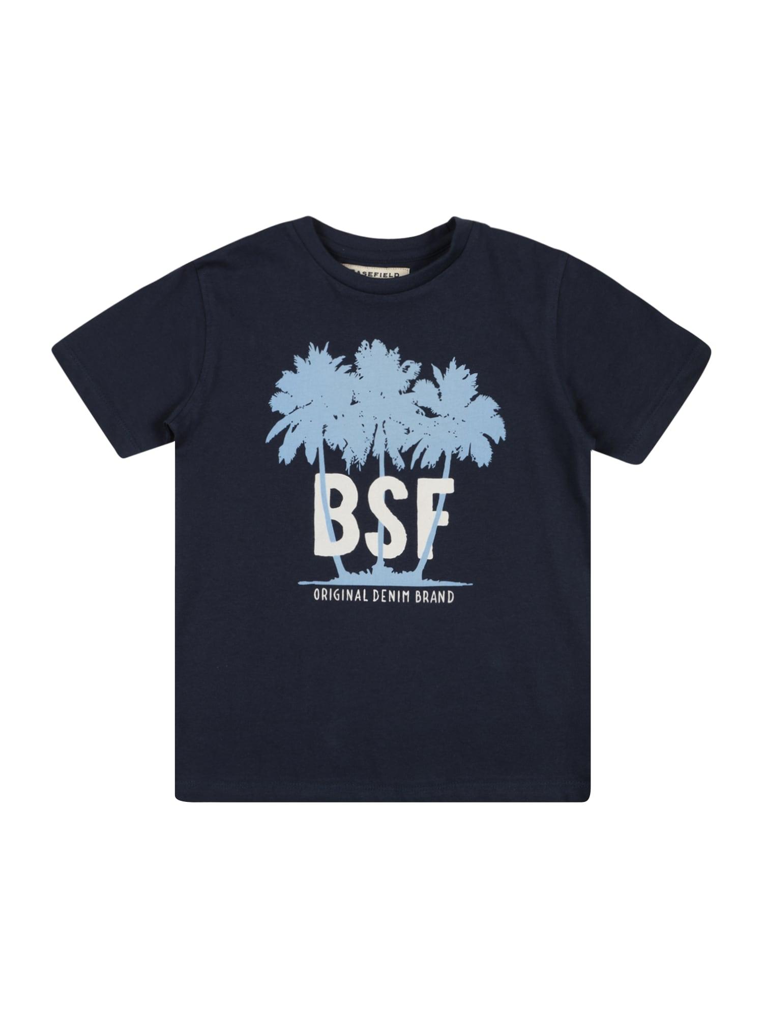 BASEFIELD Marškinėliai tamsiai mėlyna / mėlyna dūmų spalva / balta