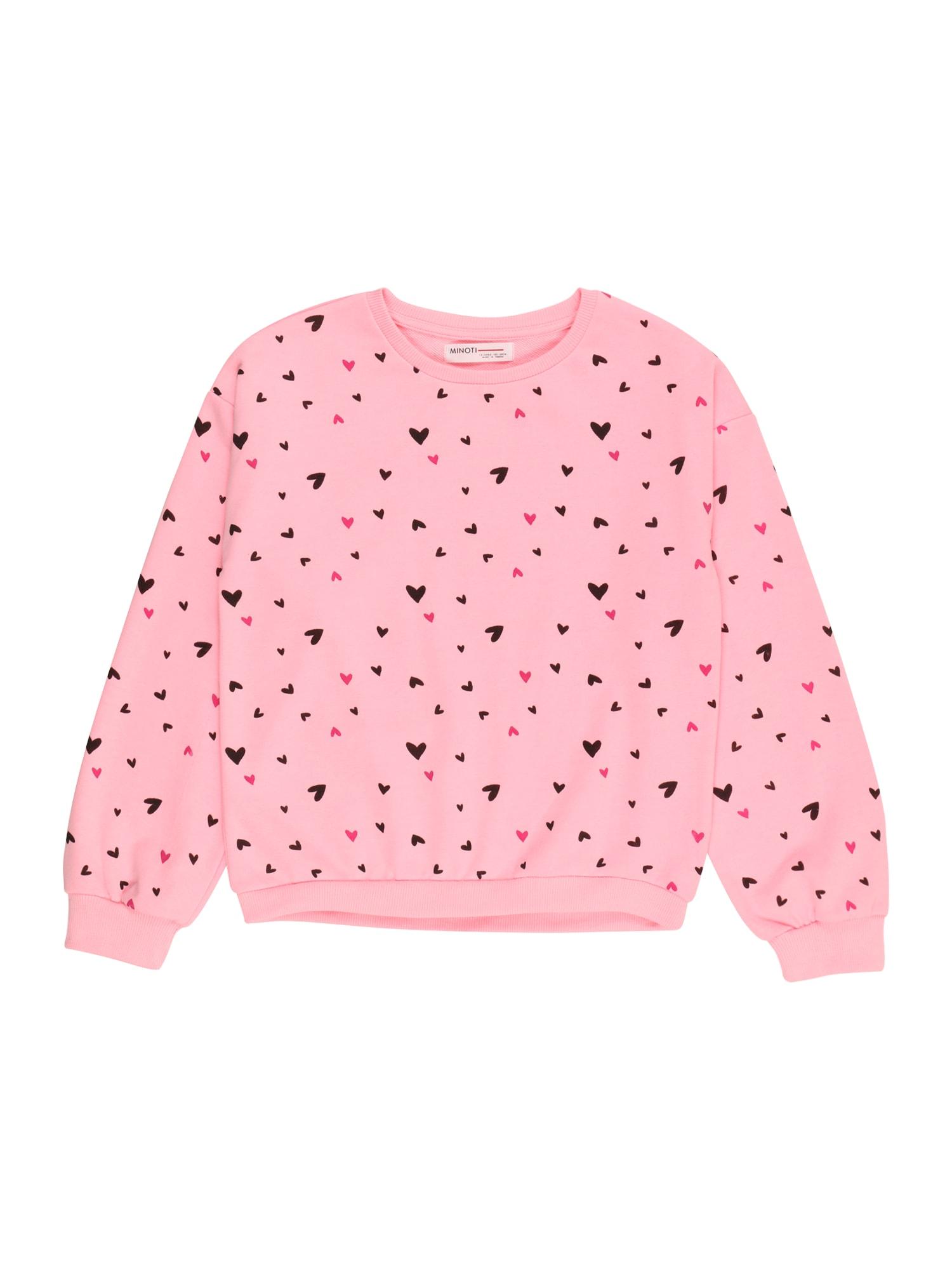 MINOTI Megztinis be užsegimo rožinė / juoda / šviesiai rožinė