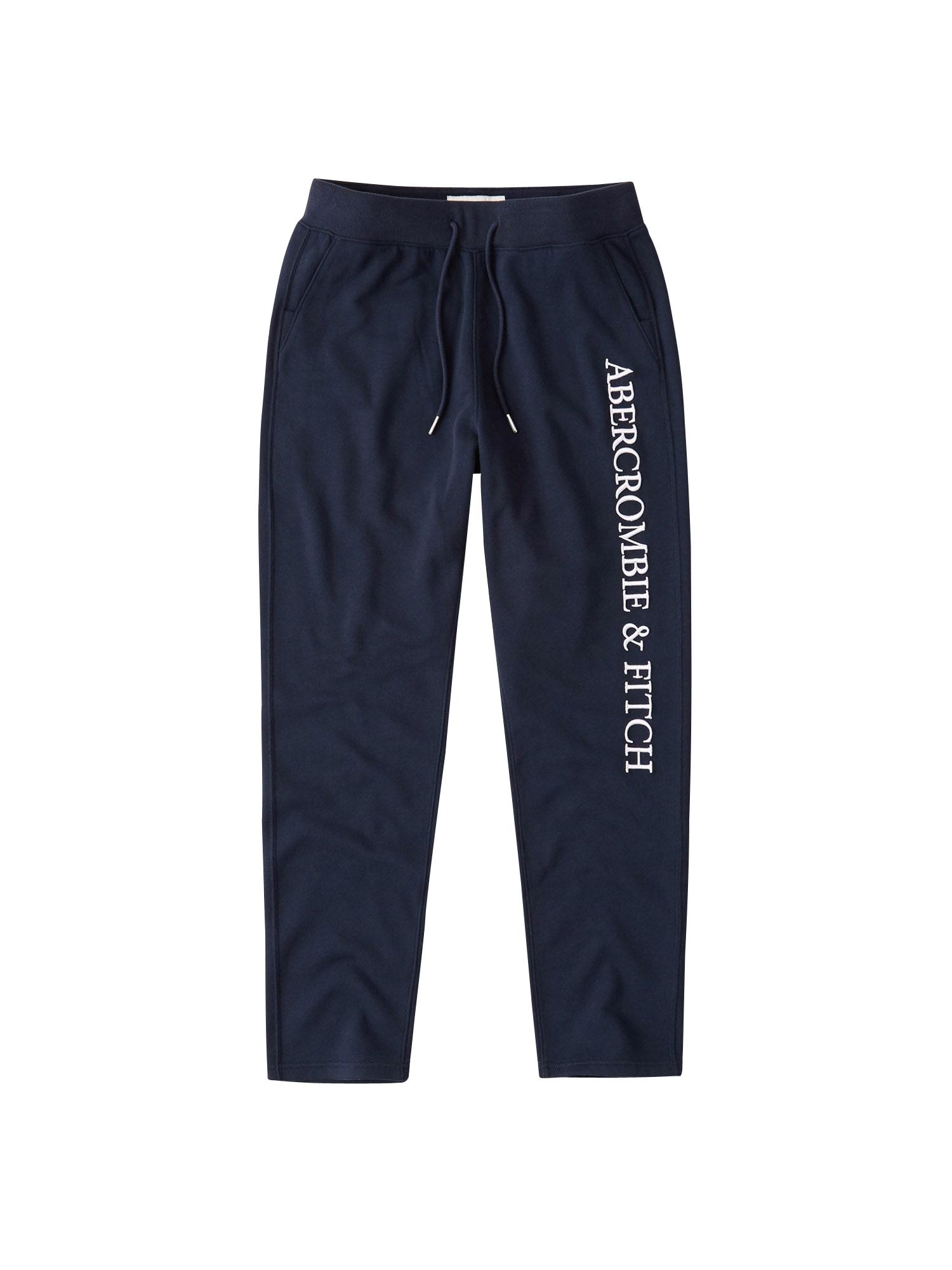 Abercrombie & Fitch Kelnės tamsiai mėlyna / balta