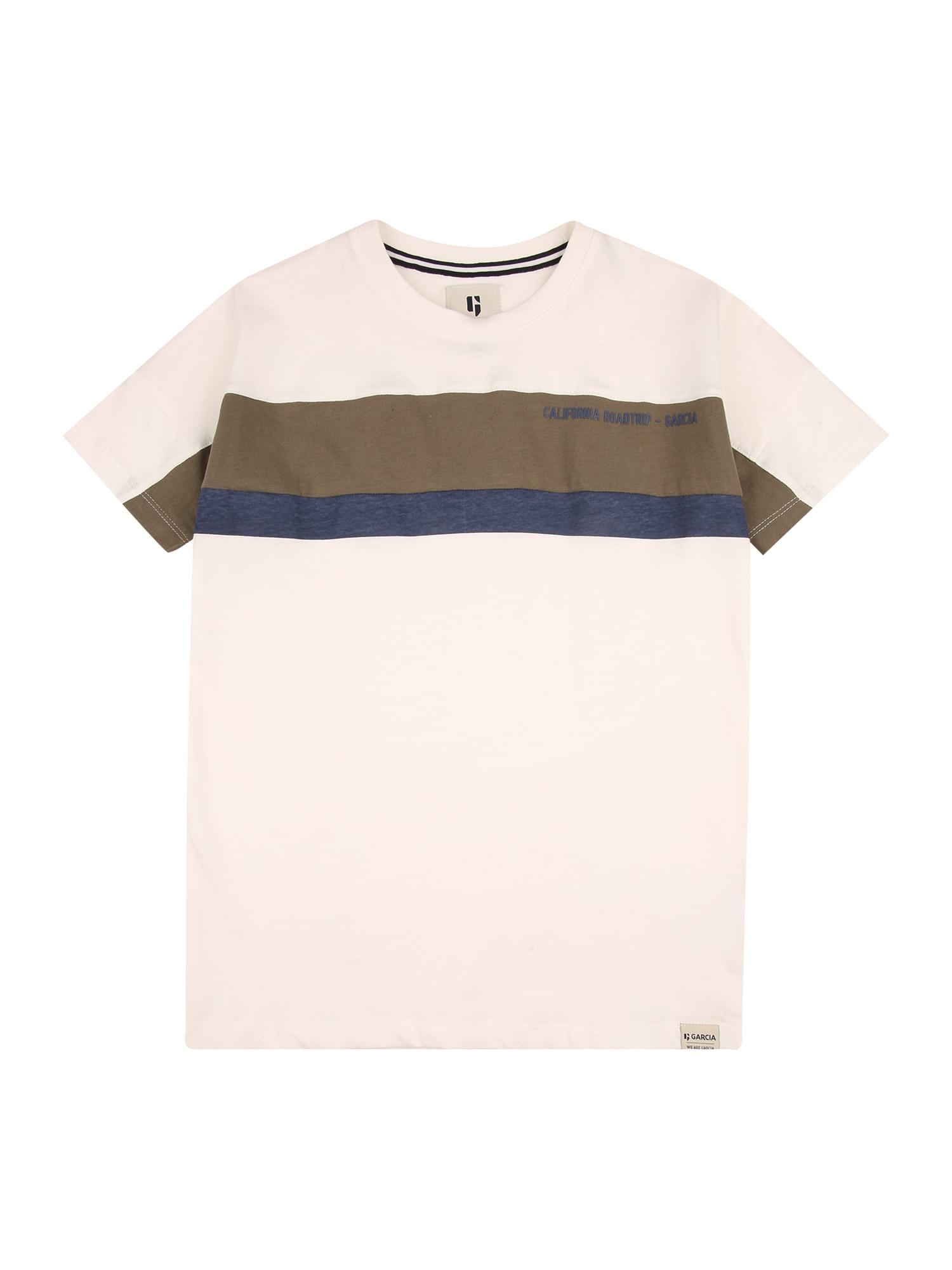GARCIA Marškinėliai balkšva / rusvai žalia / tamsiai mėlyna
