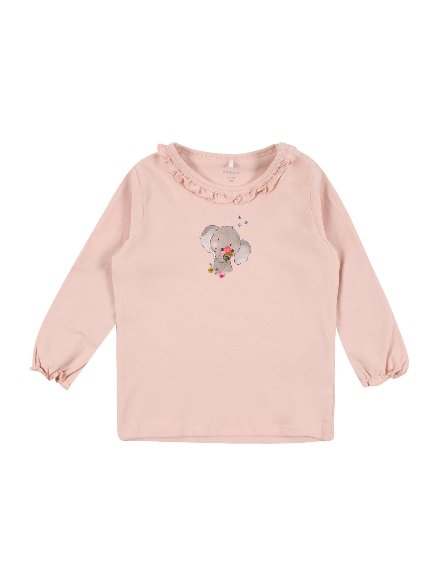 NAME IT Marškinėliai 'BERITA' akmens / ryškiai rožinė spalva / šviesiai rožinė / šviesiai pilka / tamsiai mėlyna jūros spalva