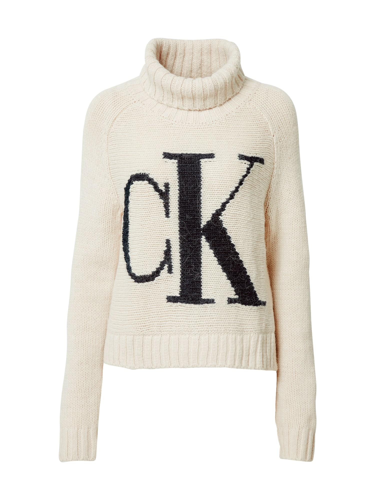 Calvin Klein Jeans Svetr  krémová / černá