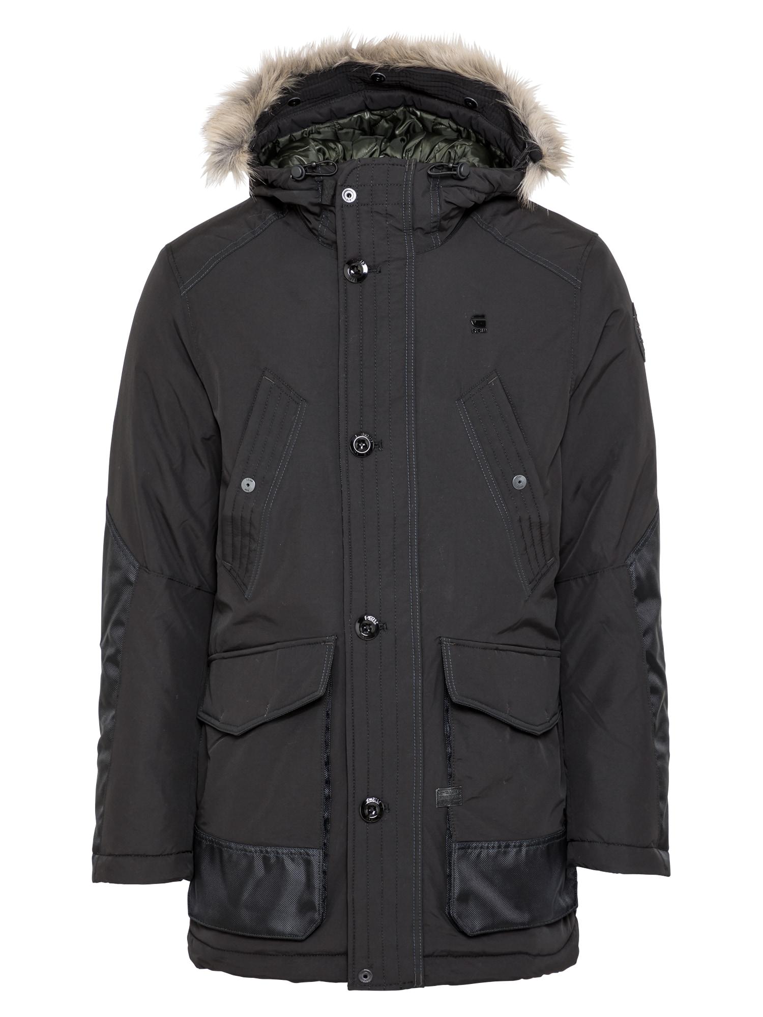 G-Star RAW Žieminė parka 'Vodan' juoda / glaisto spalva