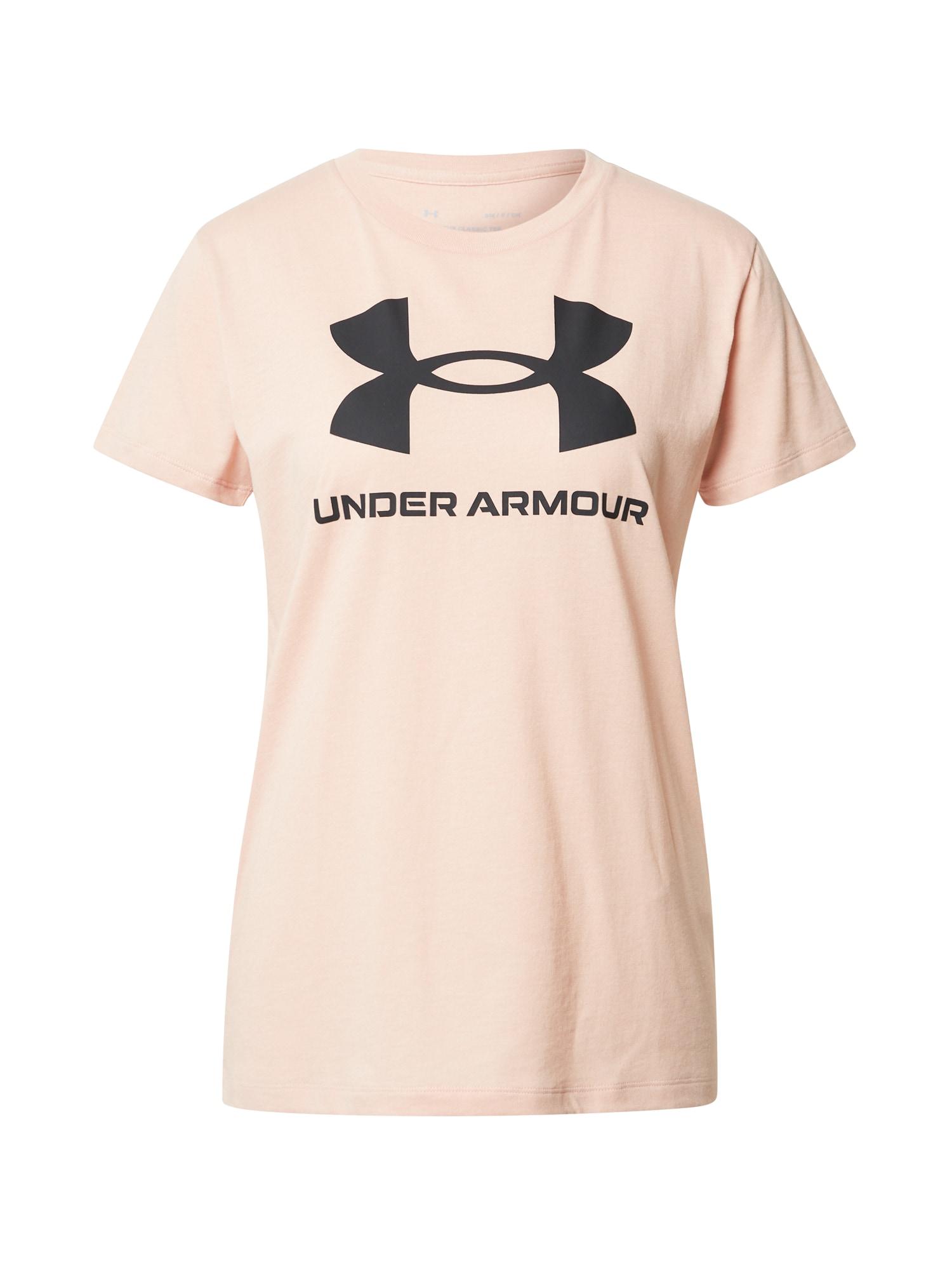 UNDER ARMOUR Sportiniai marškinėliai rožių spalva / juoda