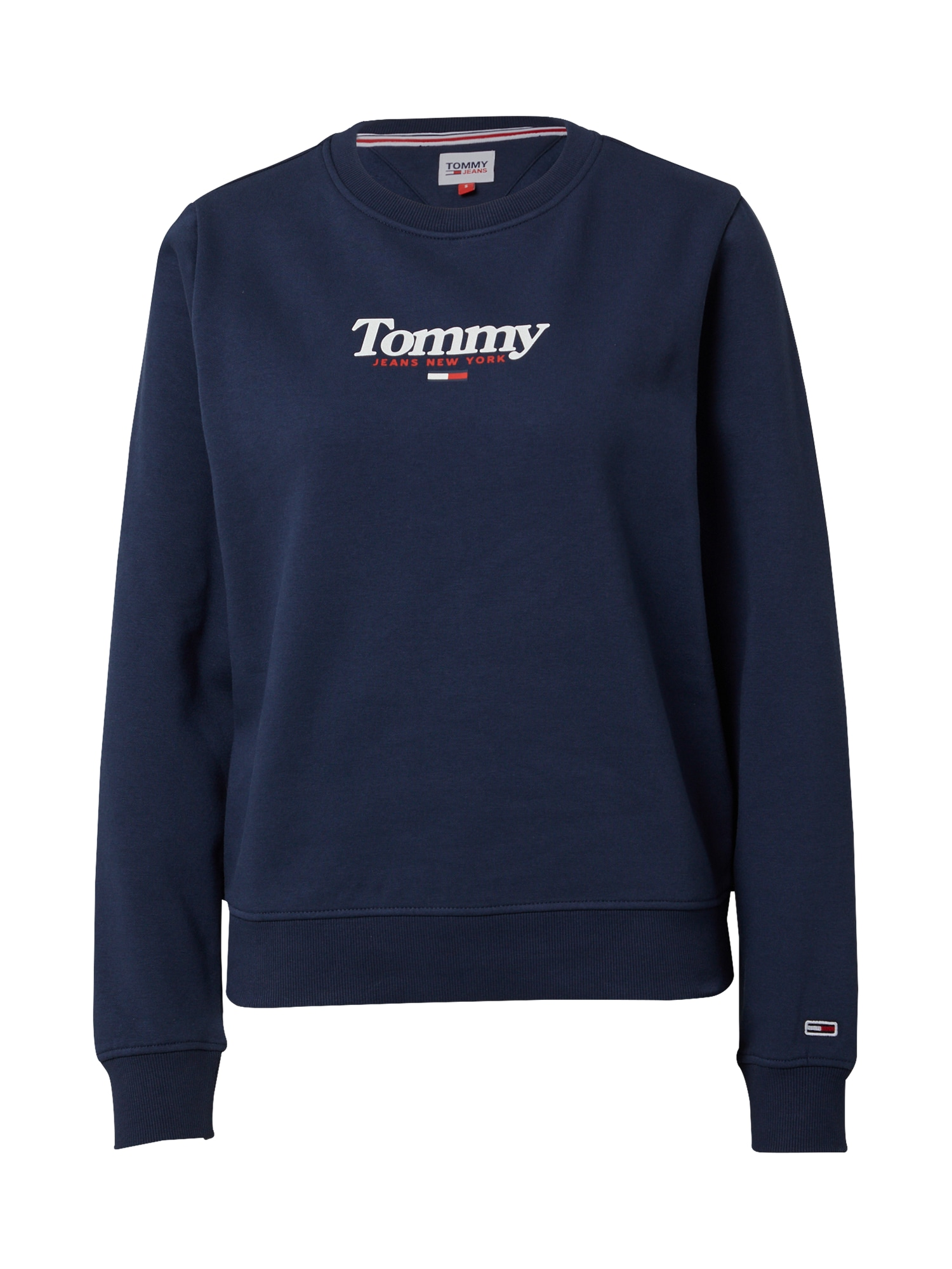 Tommy Jeans Mikina 'ESSENTIAL'  námořnická modř / bílá / červená