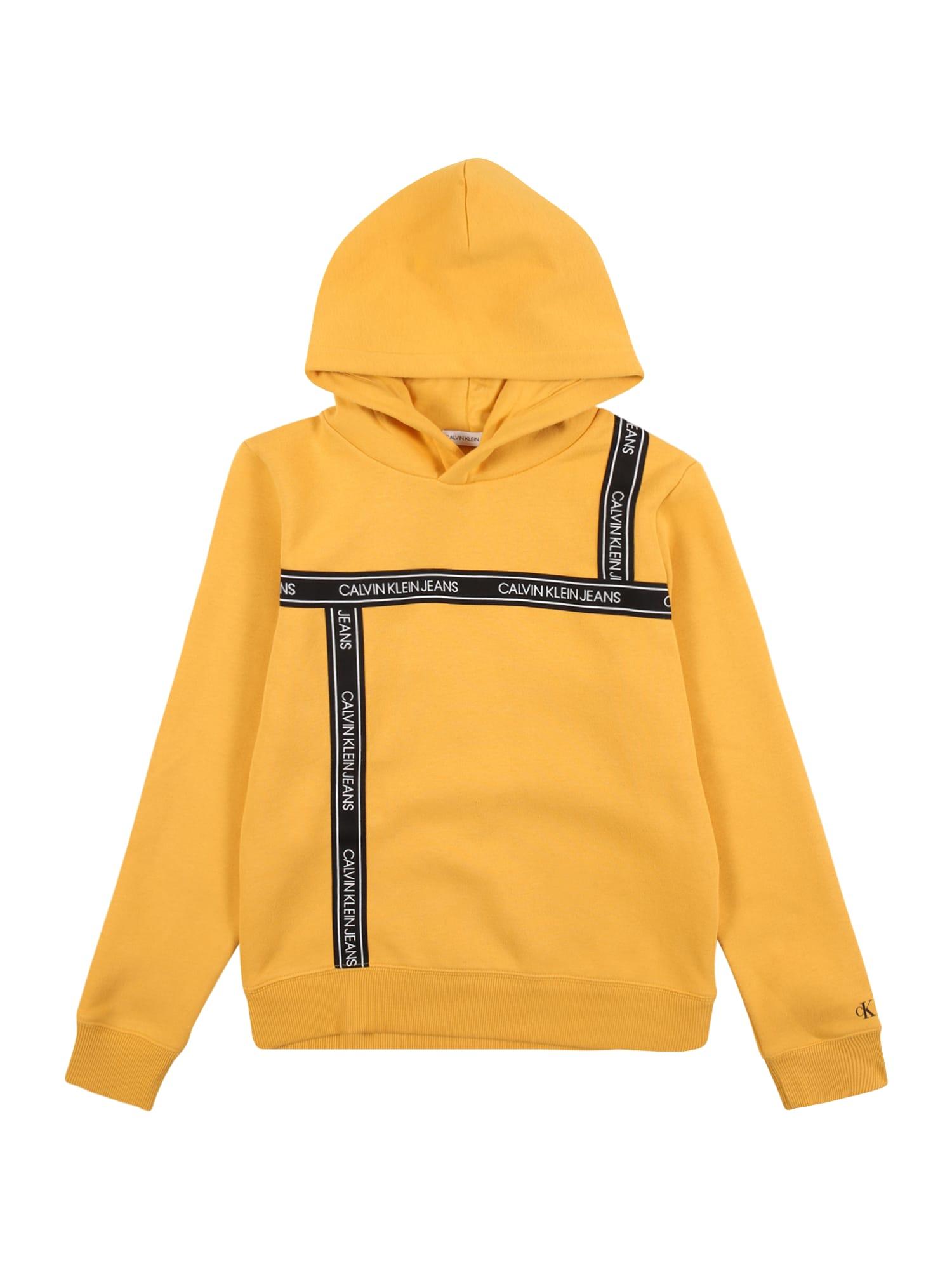 Calvin Klein Jeans Mikina  žlutá / černá / bílá